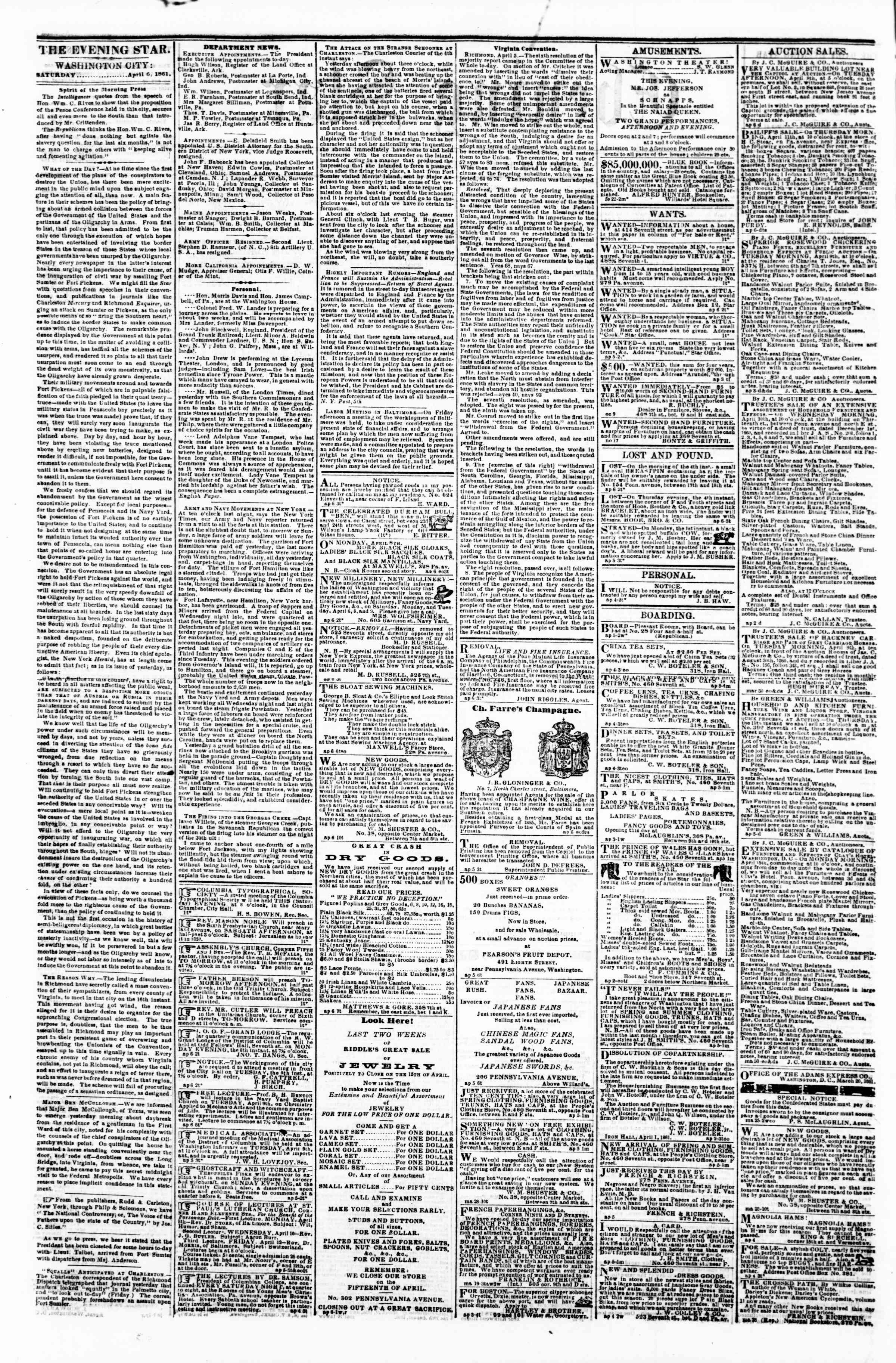 Newspaper of Evening Star dated April 6, 1861 Page 2