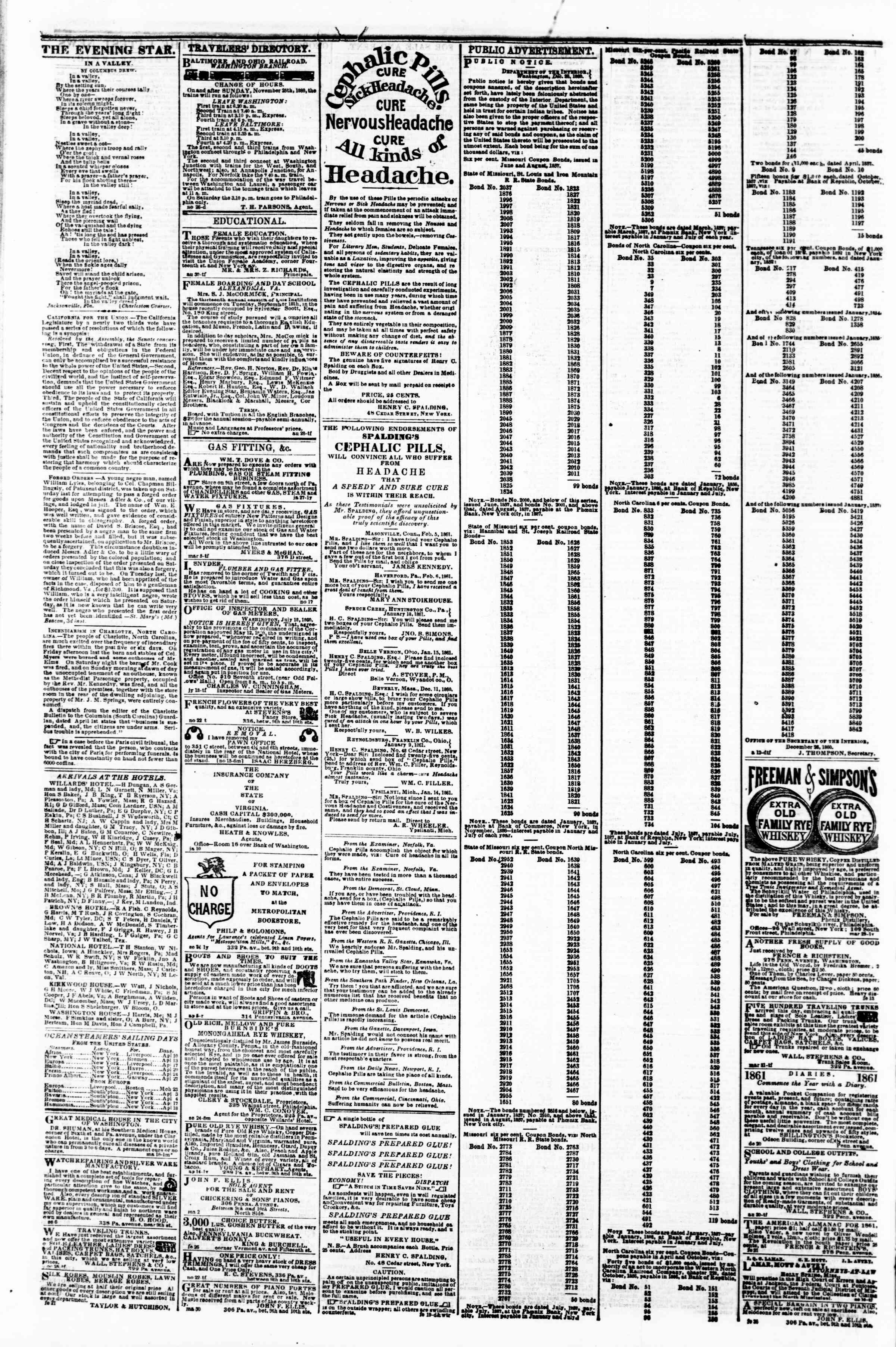 Newspaper of Evening Star dated April 6, 1861 Page 4