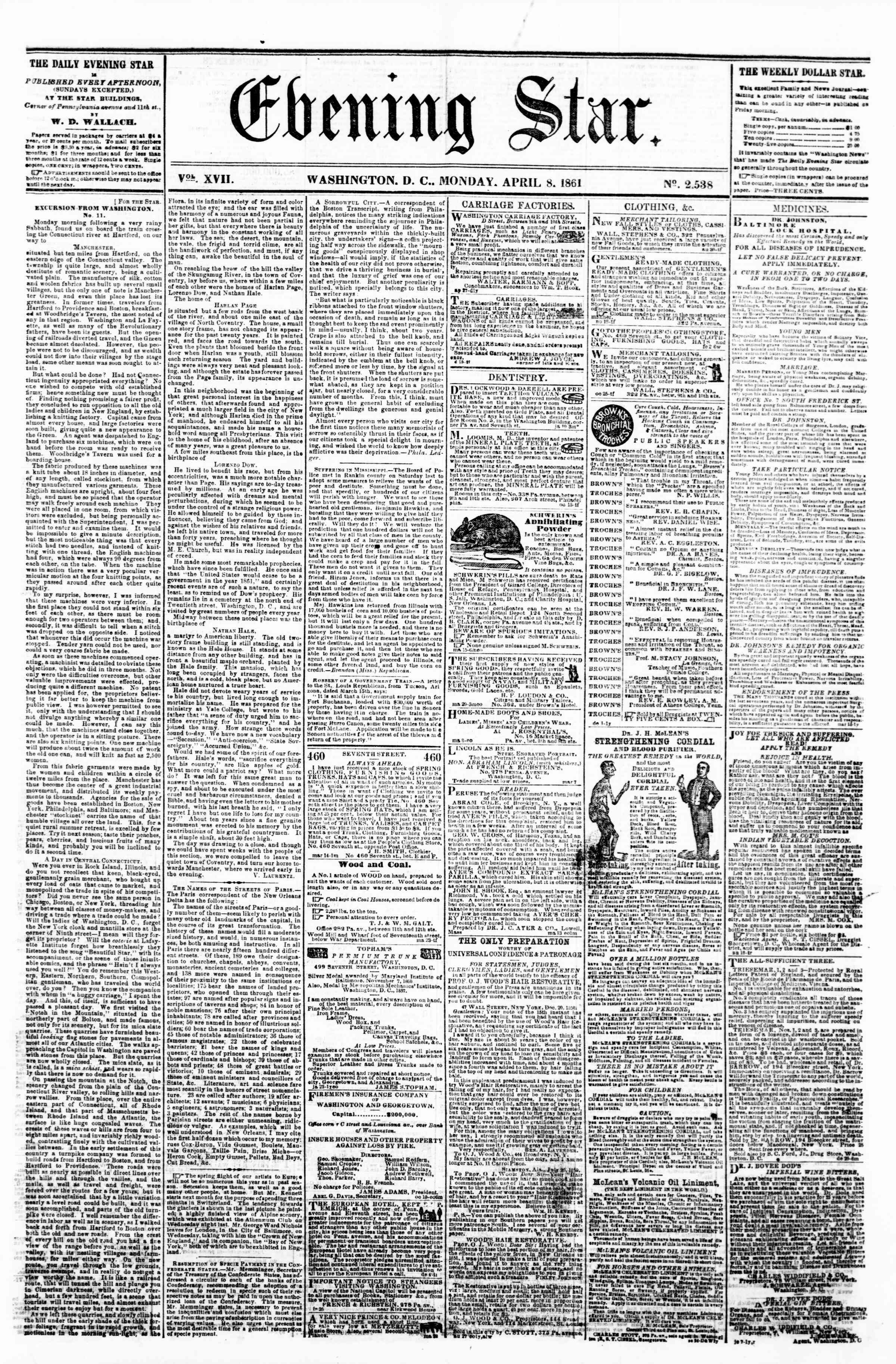 Newspaper of Evening Star dated April 8, 1861 Page 1