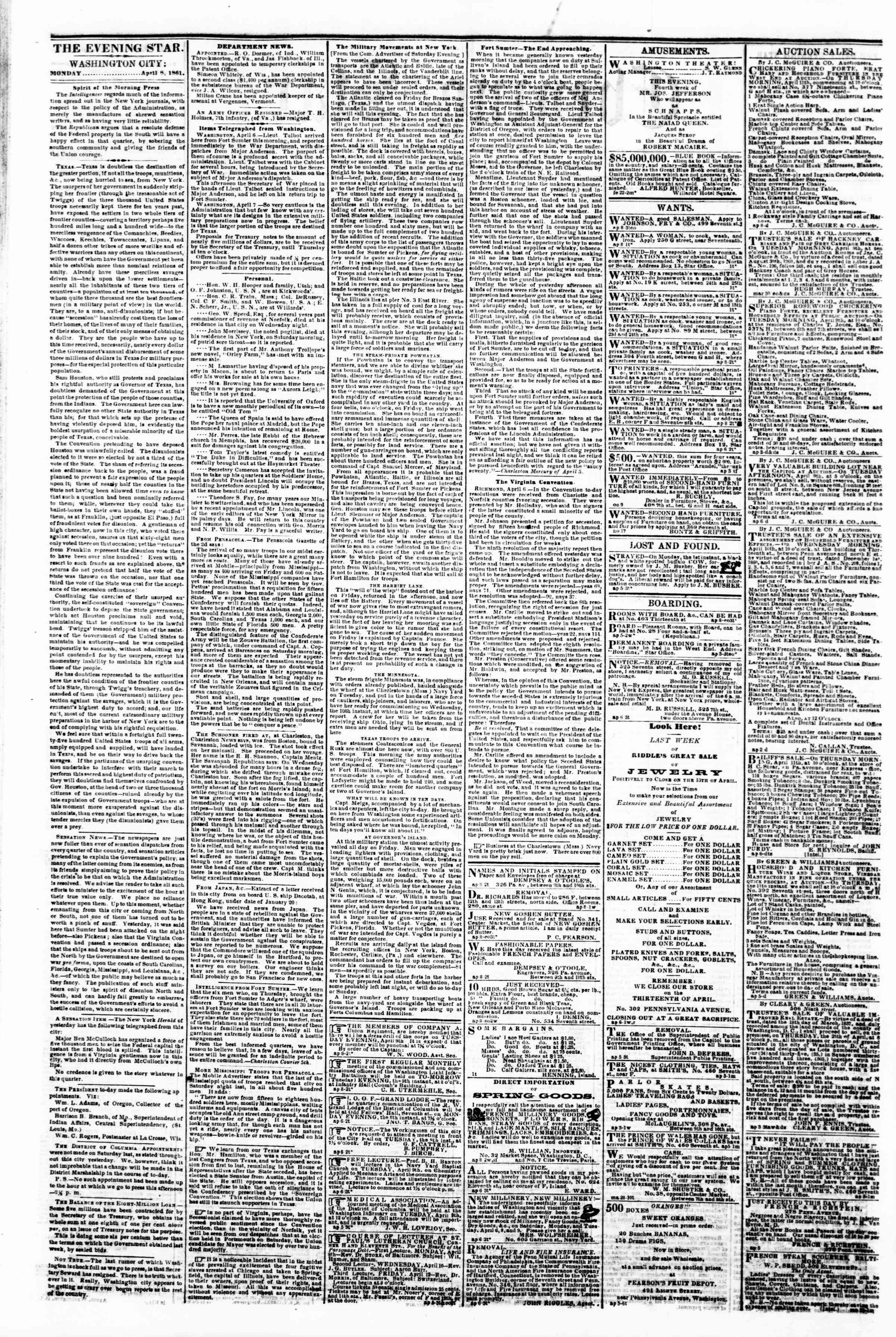 Newspaper of Evening Star dated April 8, 1861 Page 2