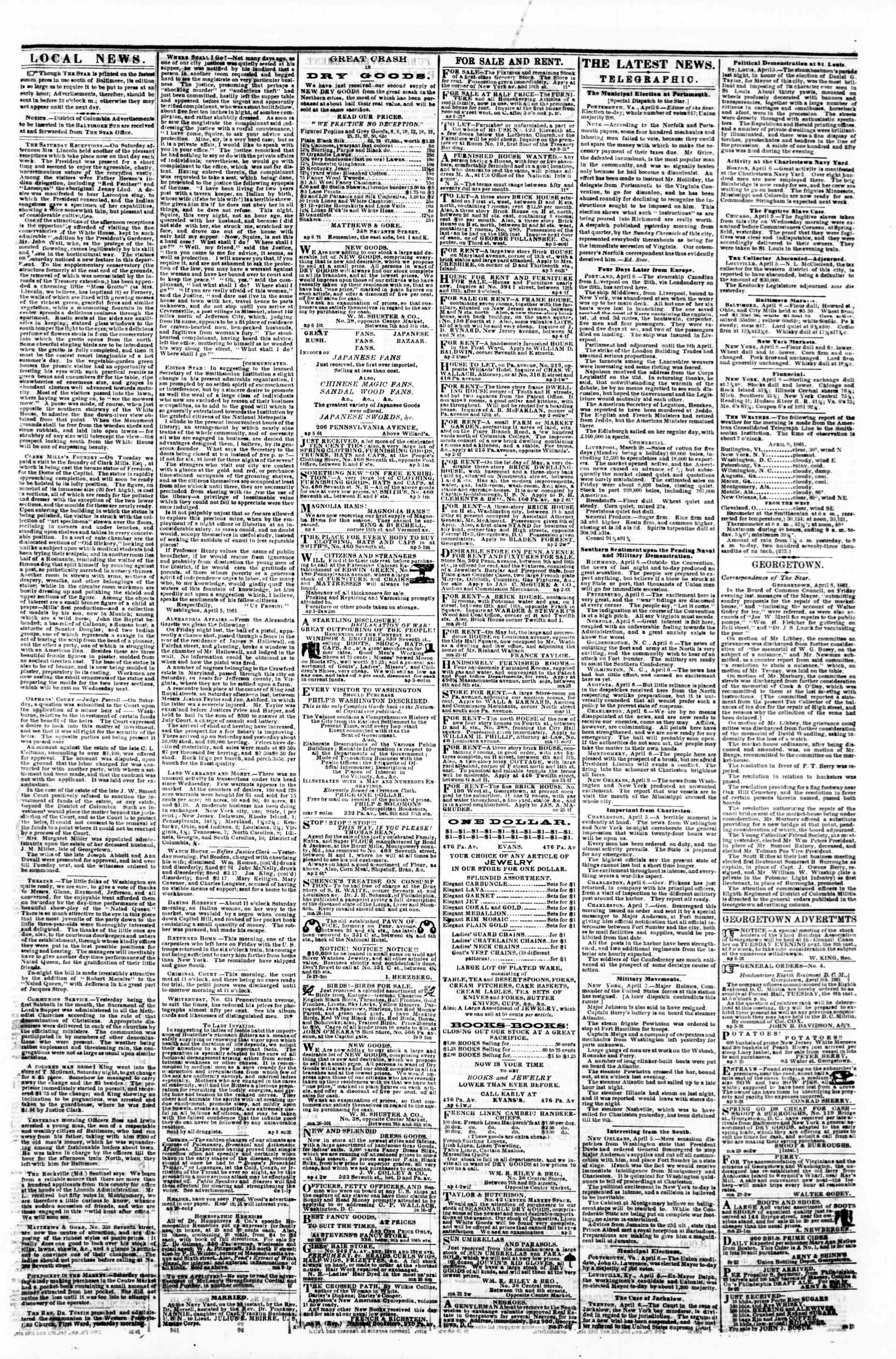 Newspaper of Evening Star dated 8 Nisan 1861 Page 3
