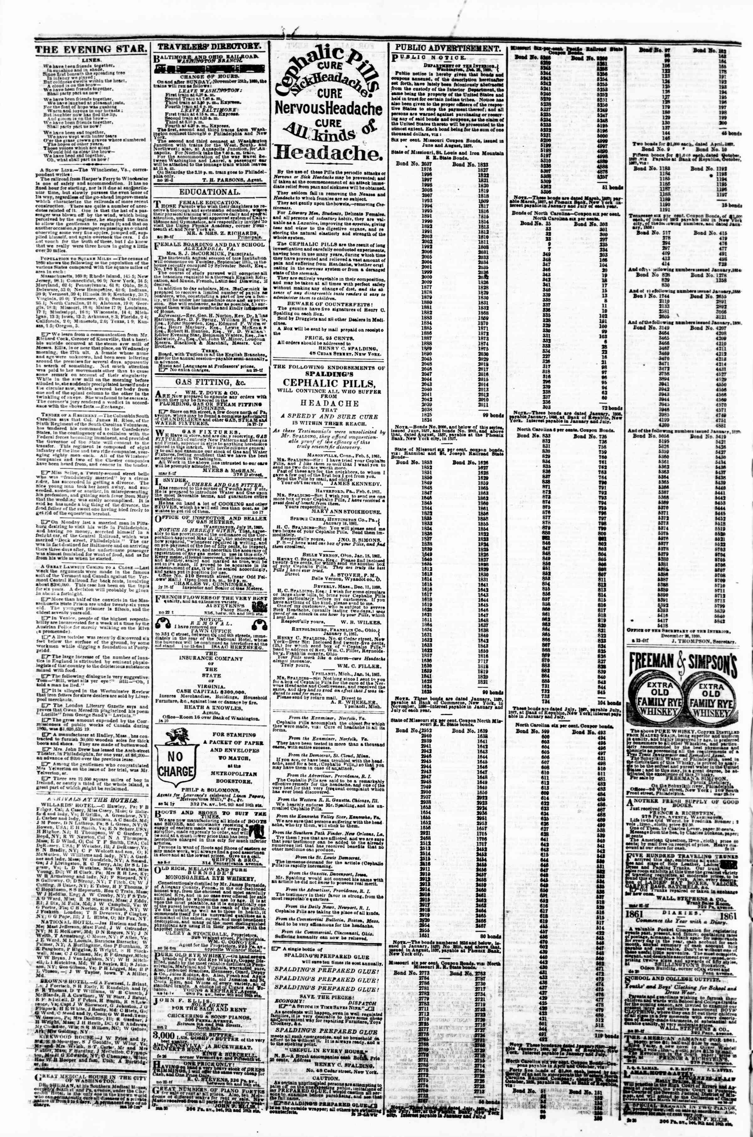 Newspaper of Evening Star dated April 8, 1861 Page 4