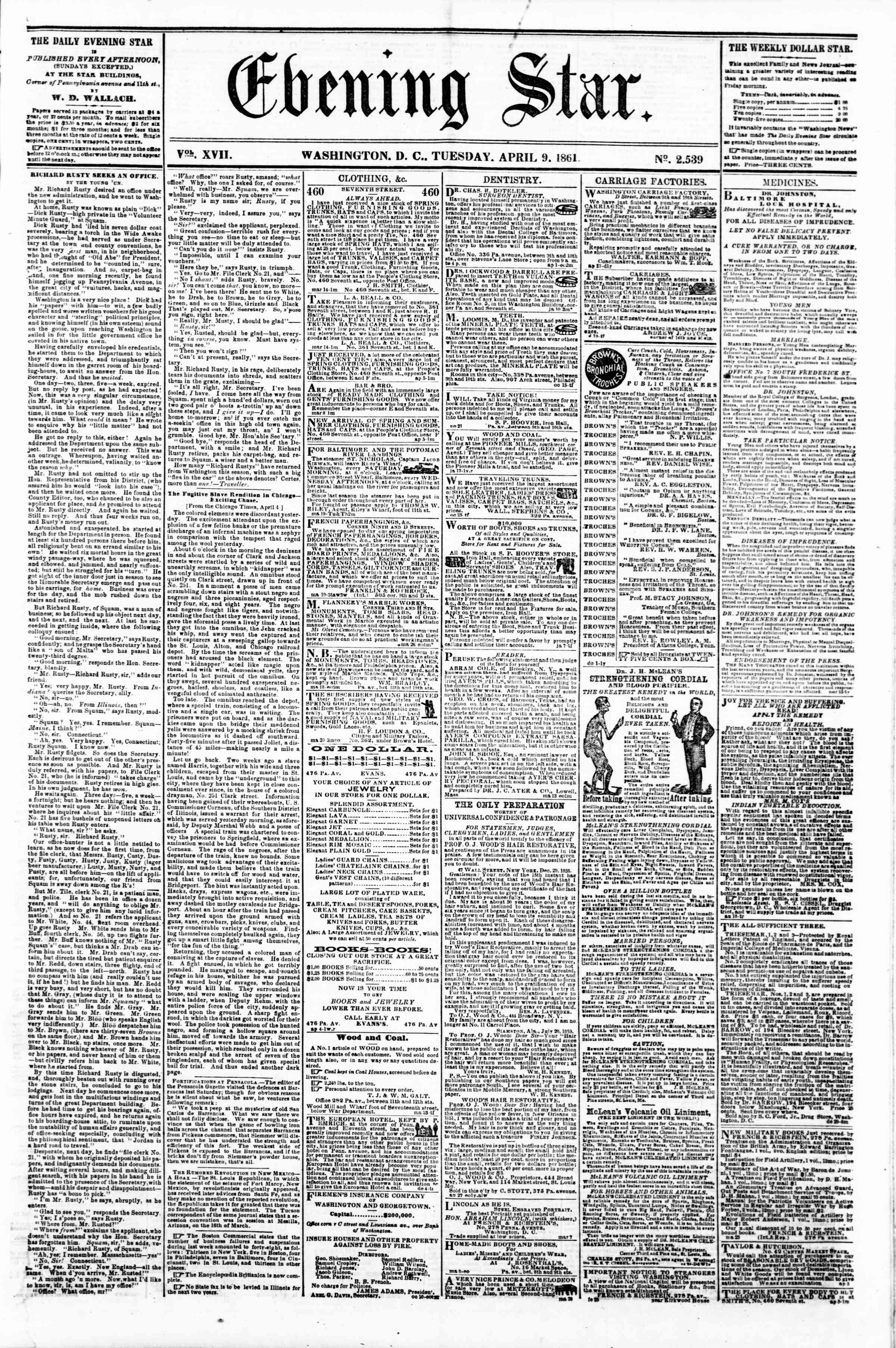 Newspaper of Evening Star dated April 9, 1861 Page 1