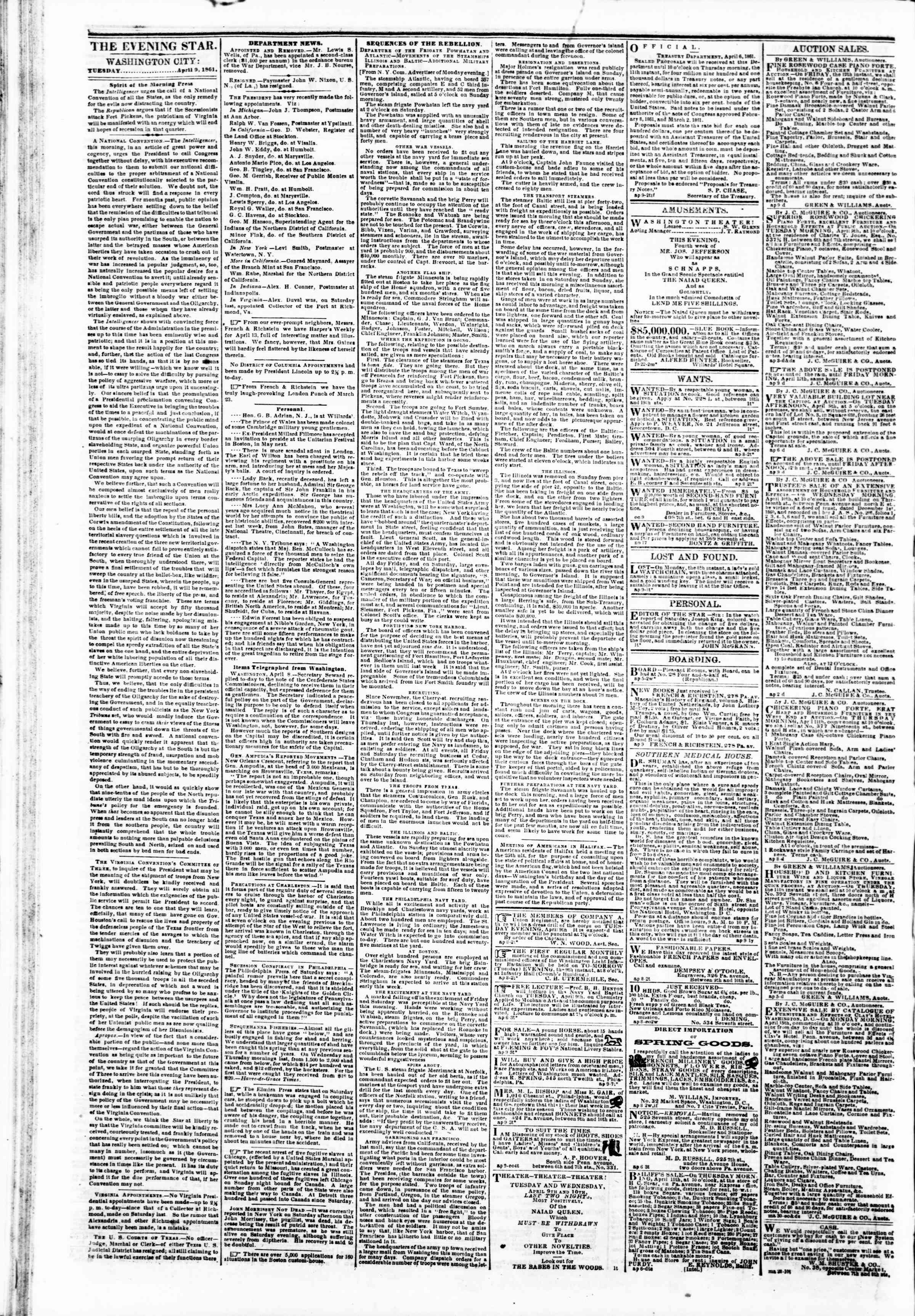 Newspaper of Evening Star dated 9 Nisan 1861 Page 2