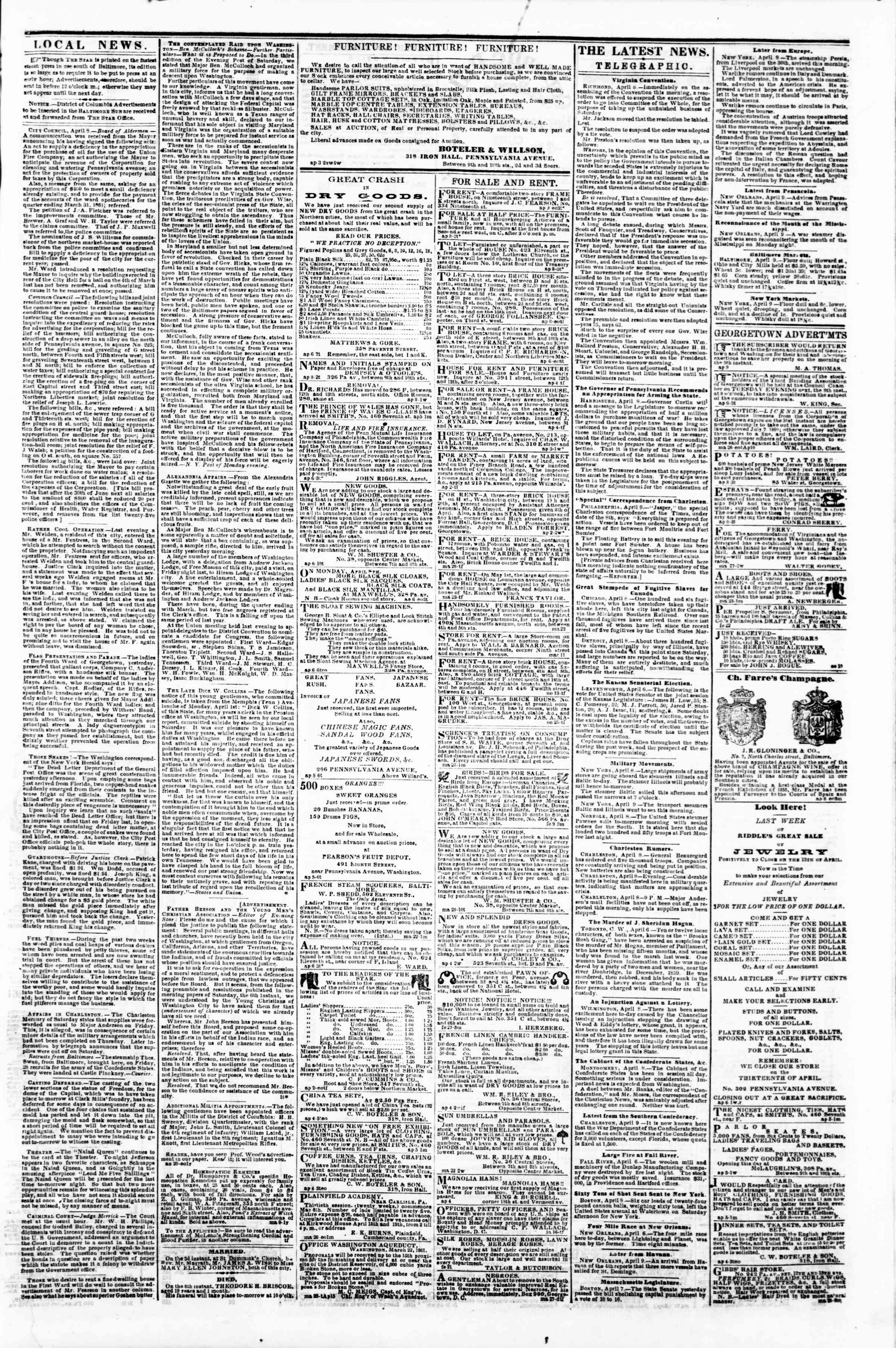 Newspaper of Evening Star dated April 9, 1861 Page 3