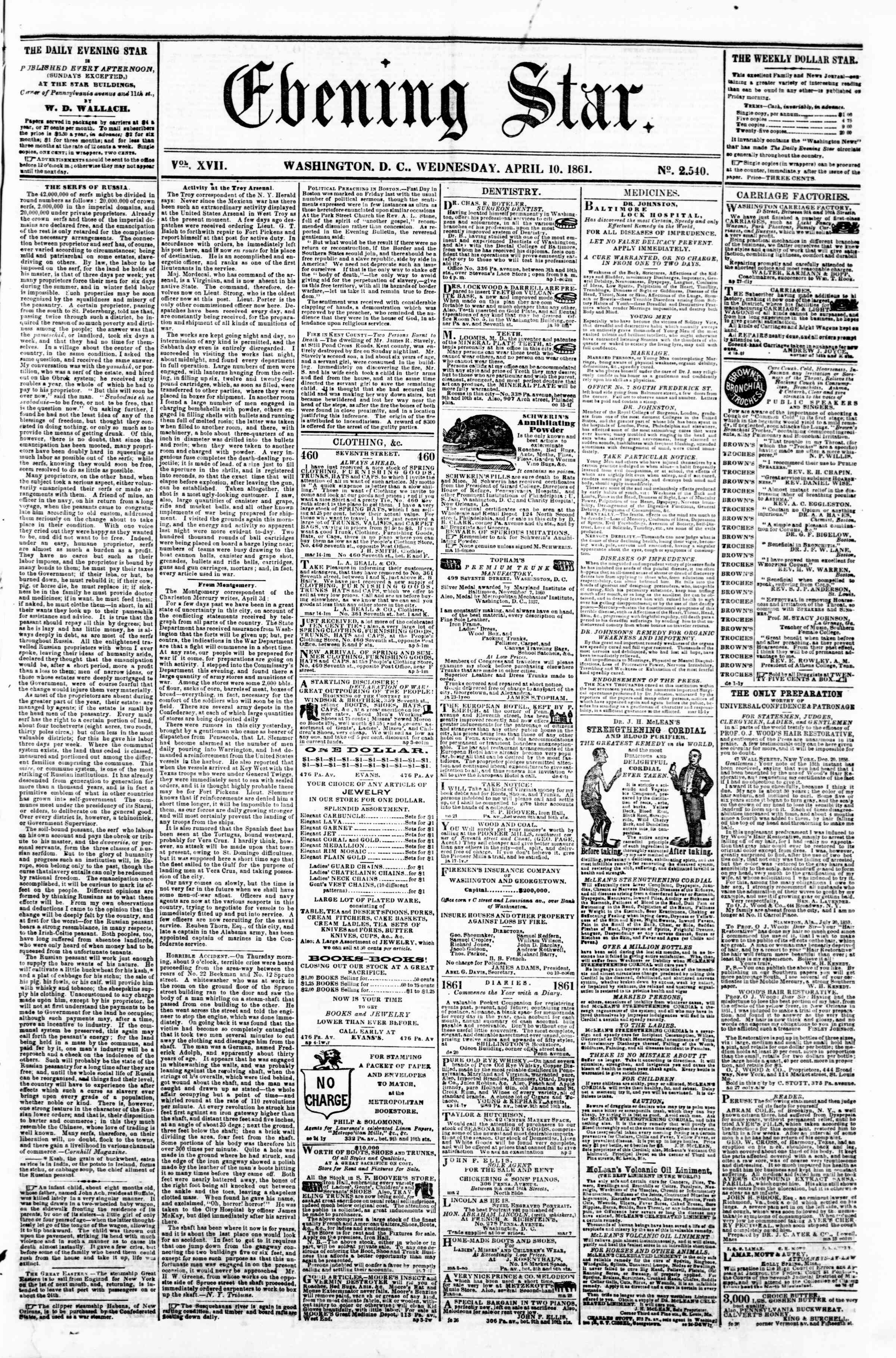 Newspaper of Evening Star dated April 10, 1861 Page 1