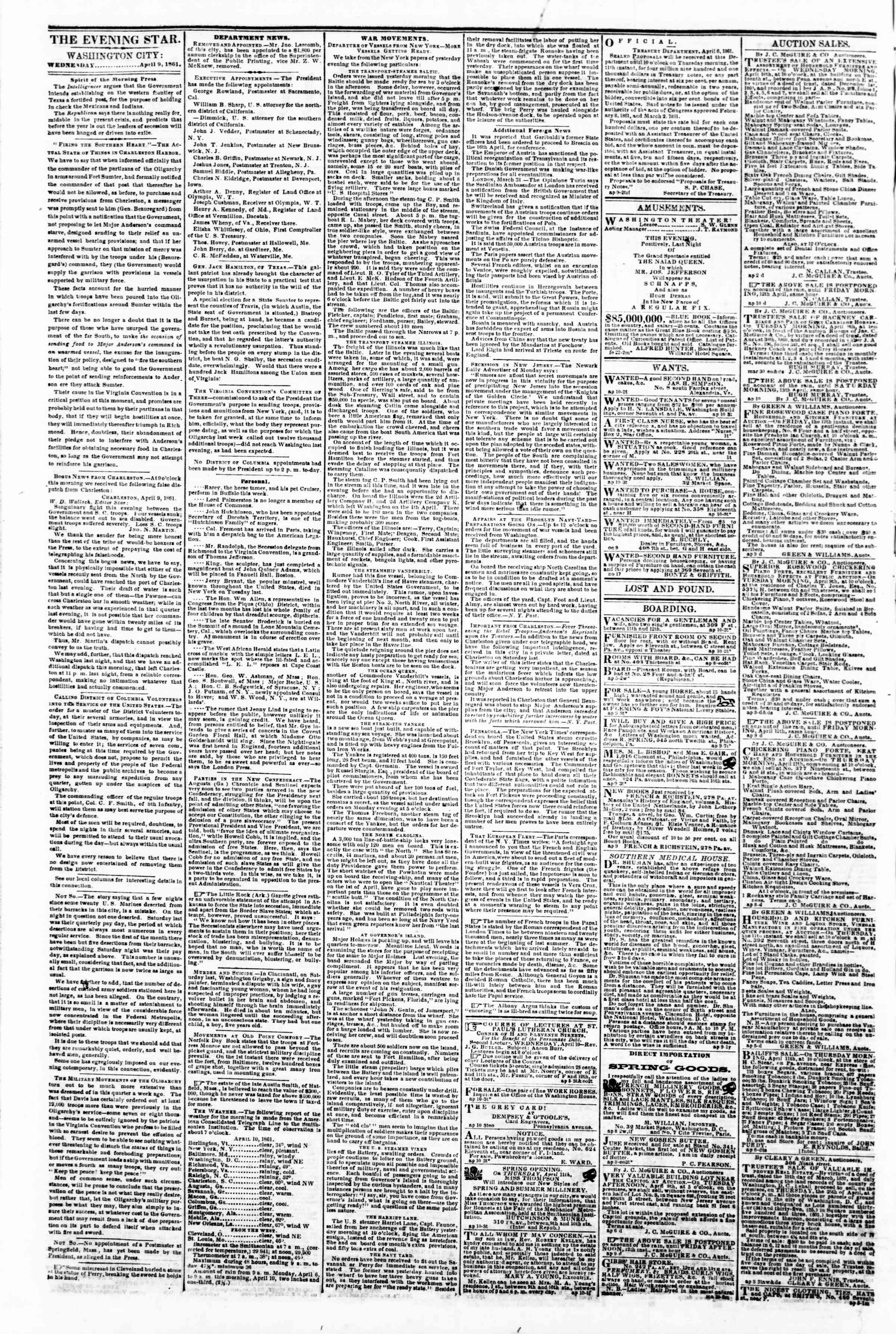 Newspaper of Evening Star dated April 10, 1861 Page 2