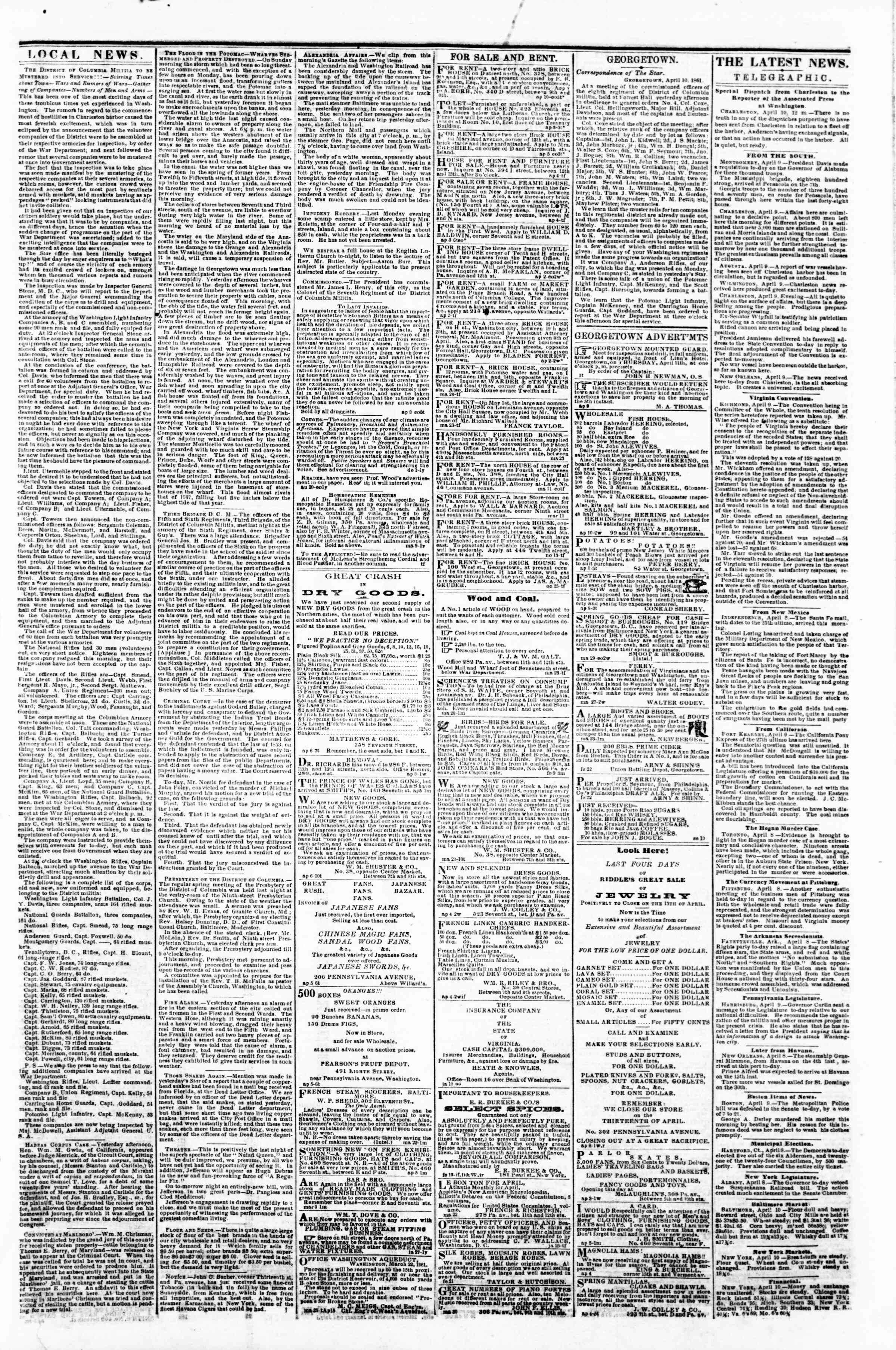 Newspaper of Evening Star dated April 10, 1861 Page 3