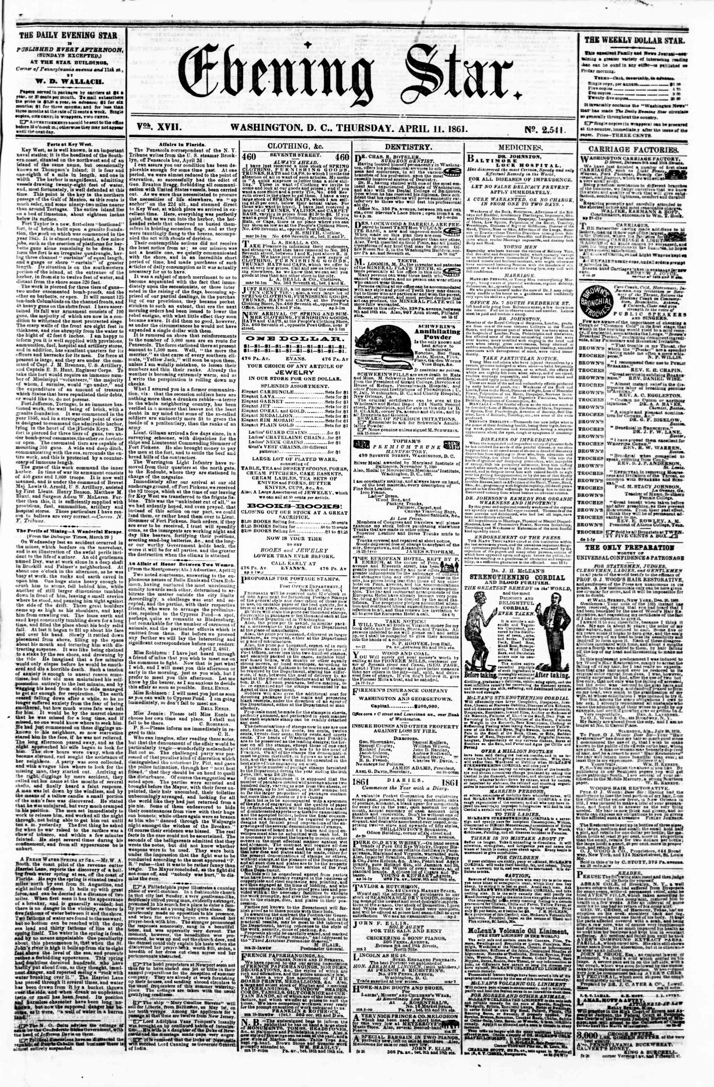 Newspaper of Evening Star dated April 11, 1861 Page 1