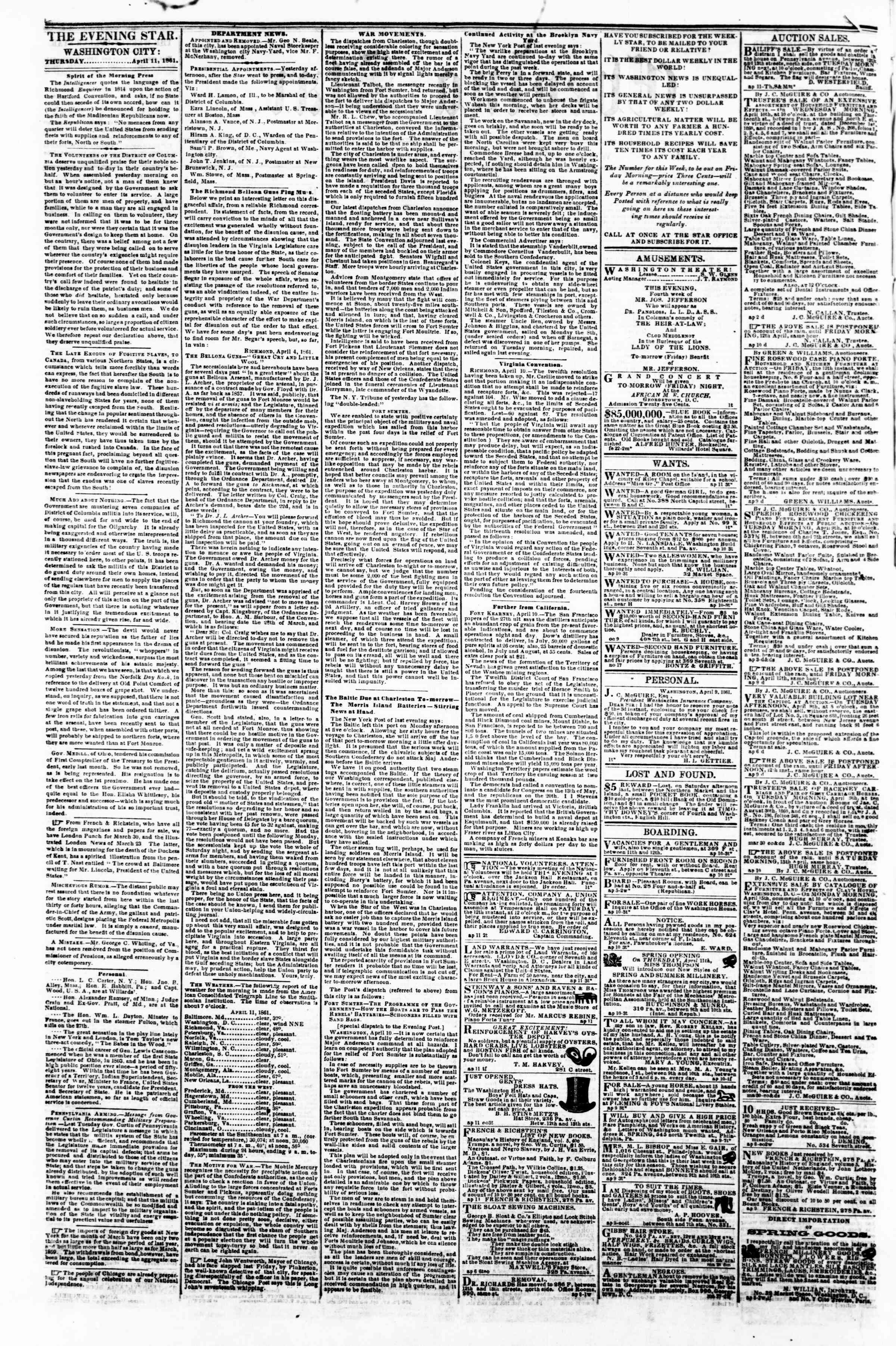 Newspaper of Evening Star dated April 11, 1861 Page 2