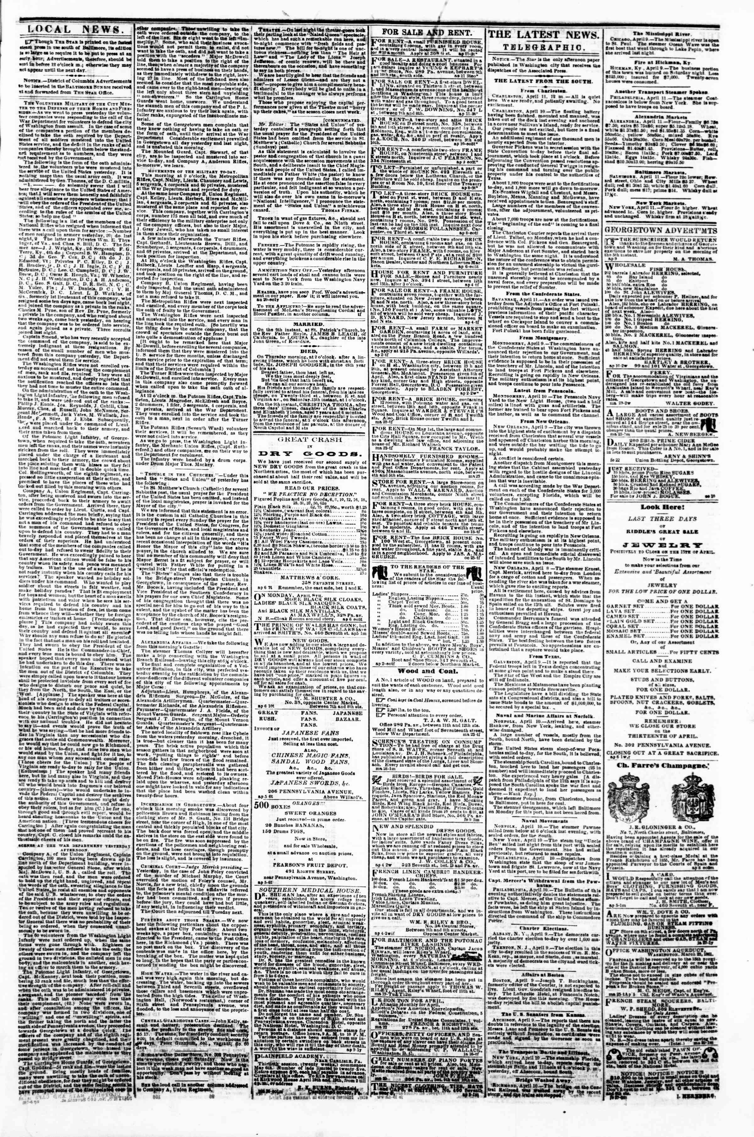Newspaper of Evening Star dated April 11, 1861 Page 3
