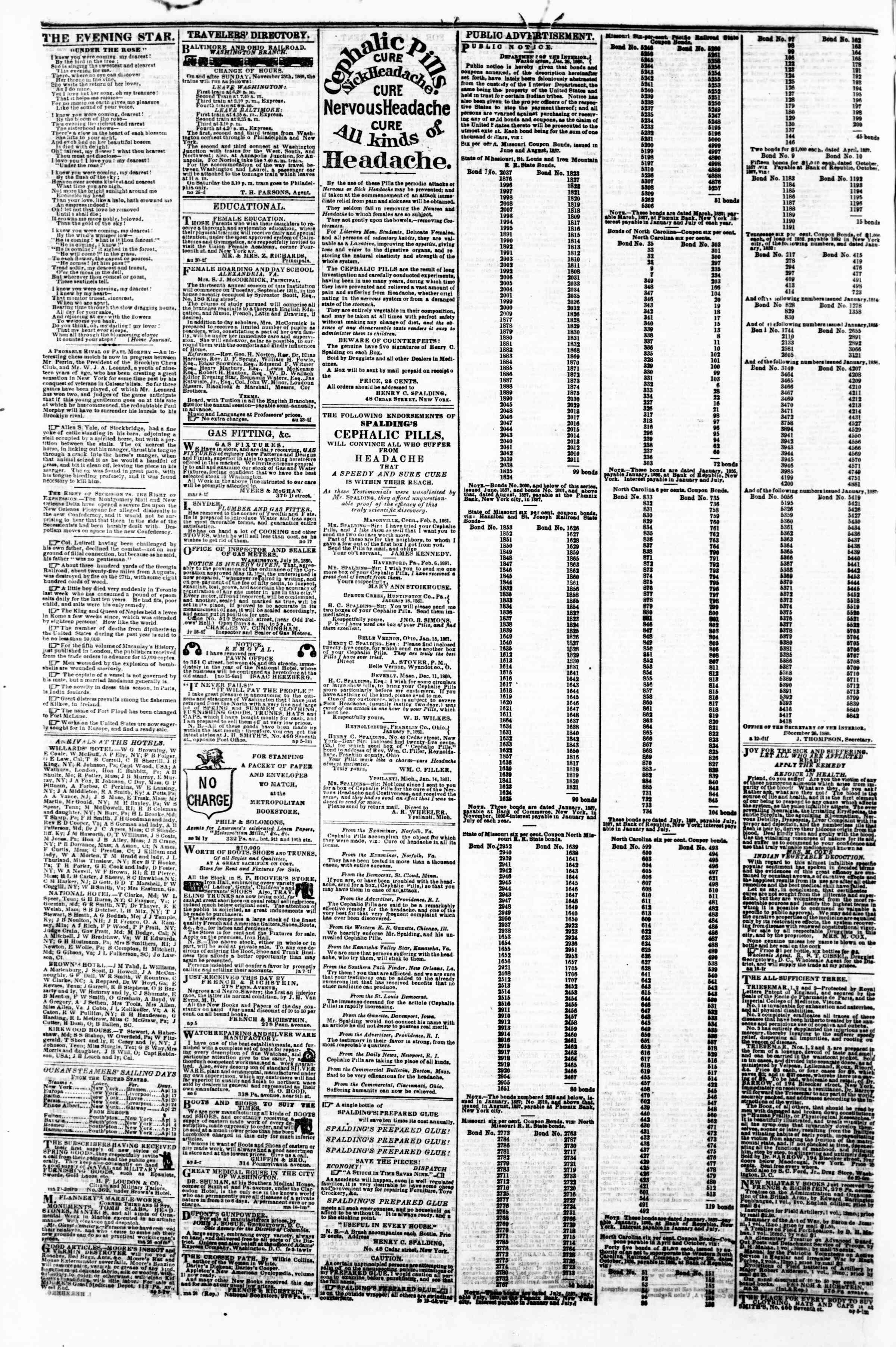 Newspaper of Evening Star dated April 11, 1861 Page 4