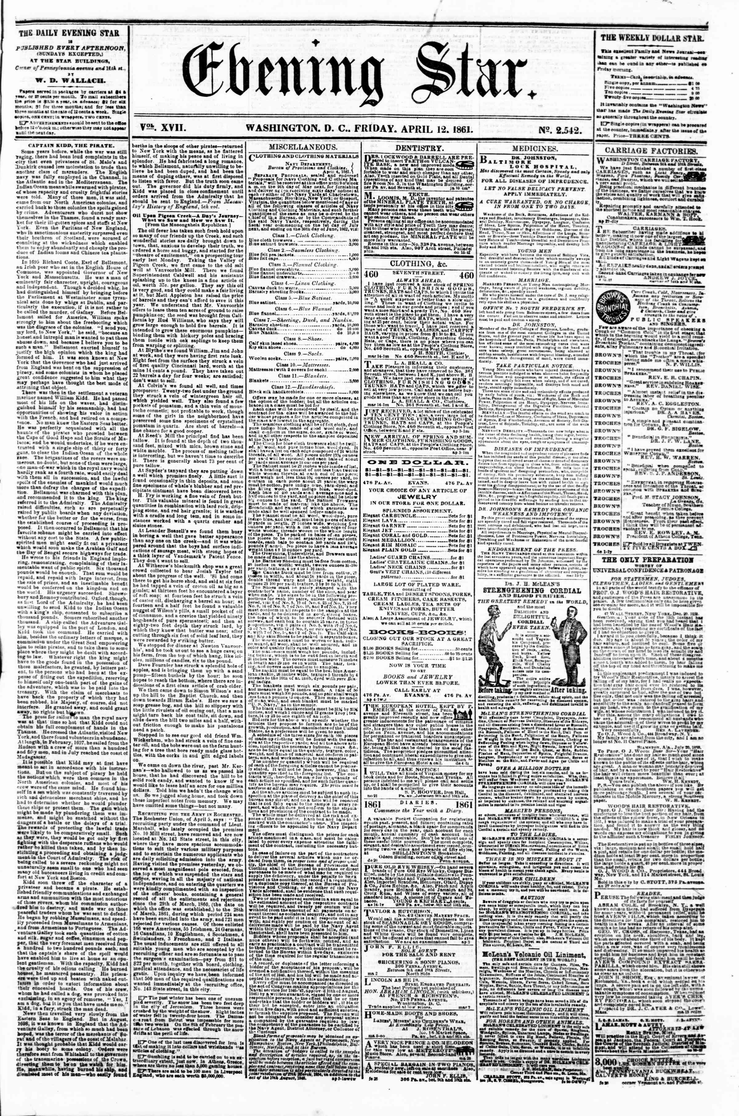 Newspaper of Evening Star dated 12 Nisan 1861 Page 1