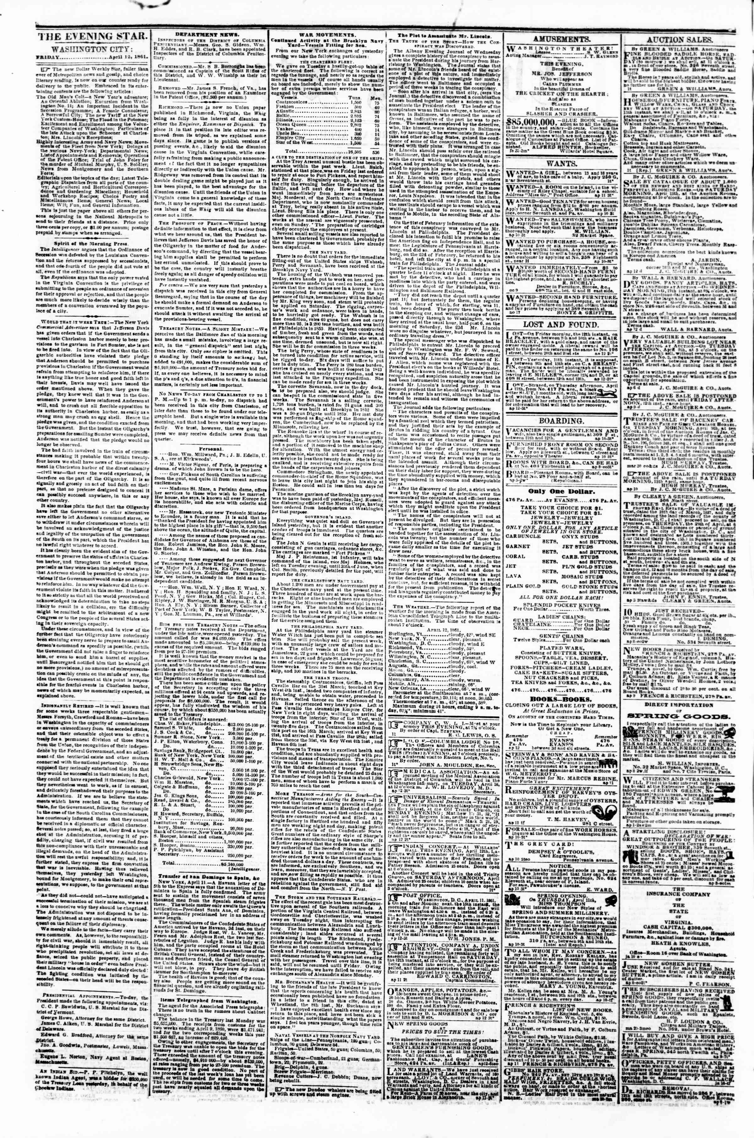 Newspaper of Evening Star dated April 12, 1861 Page 2