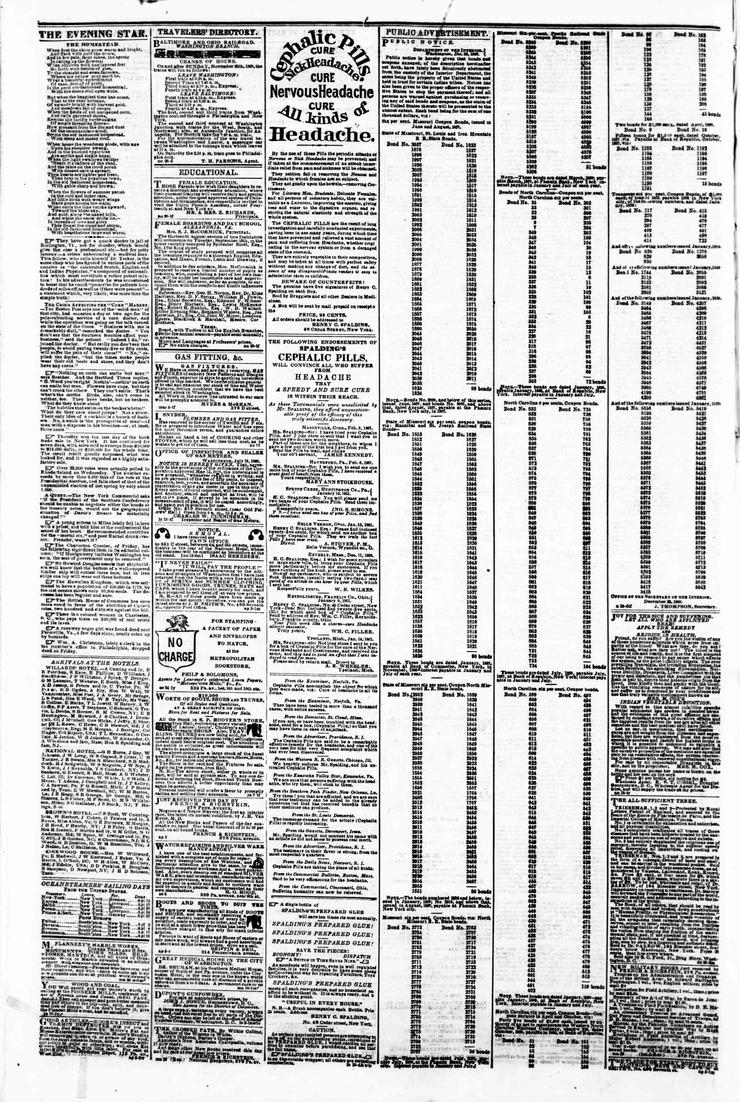 Newspaper of Evening Star dated April 12, 1861 Page 4