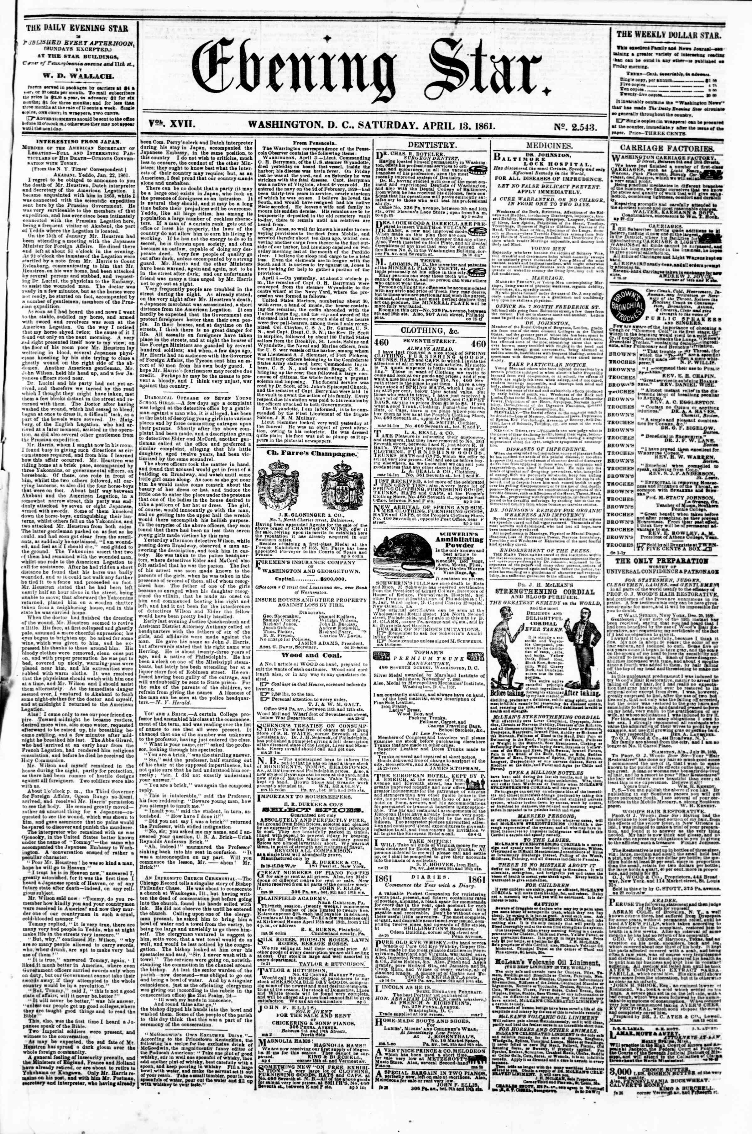 Newspaper of Evening Star dated April 13, 1861 Page 1