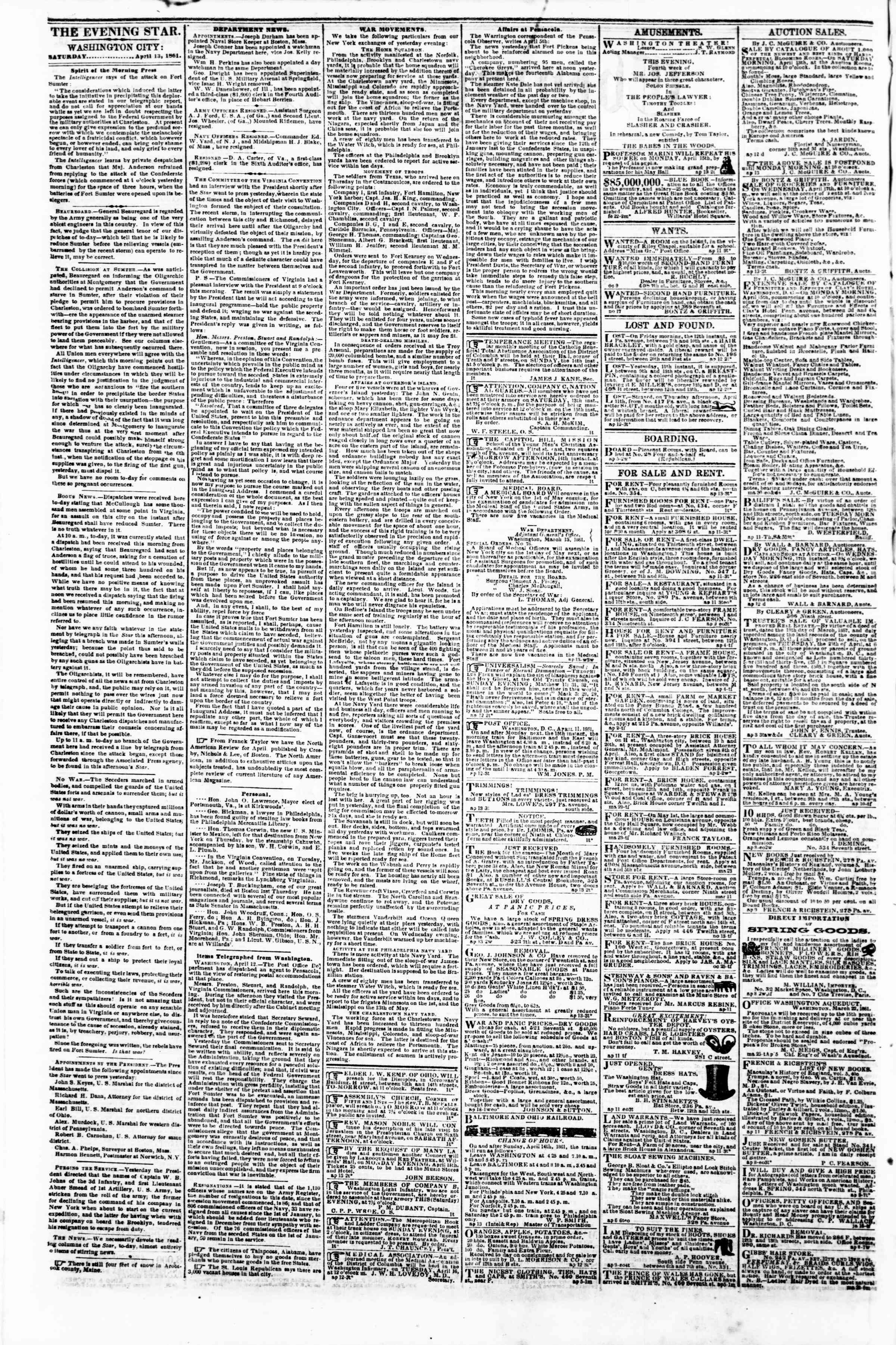 Newspaper of Evening Star dated April 13, 1861 Page 2