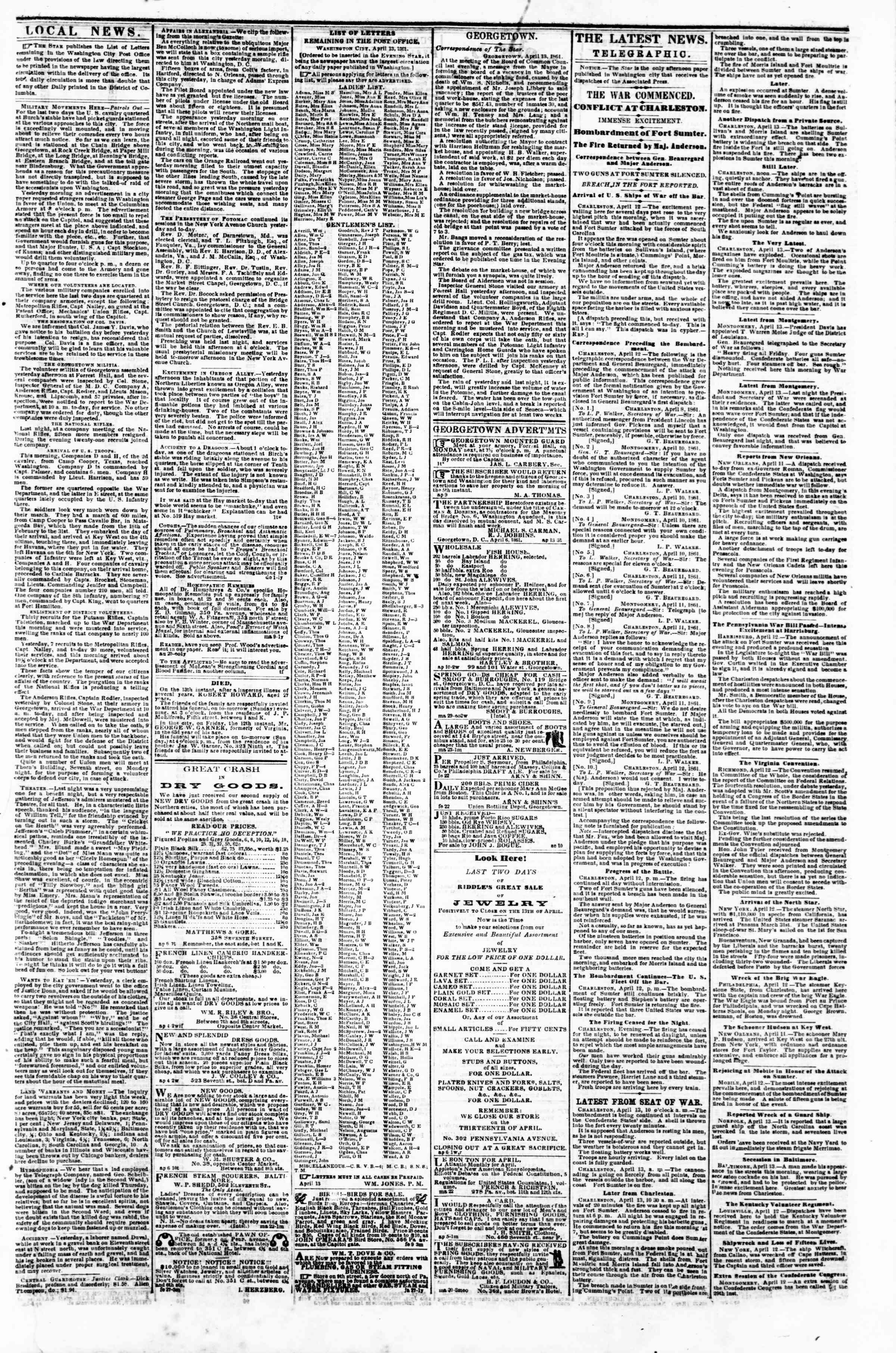 Newspaper of Evening Star dated April 13, 1861 Page 3