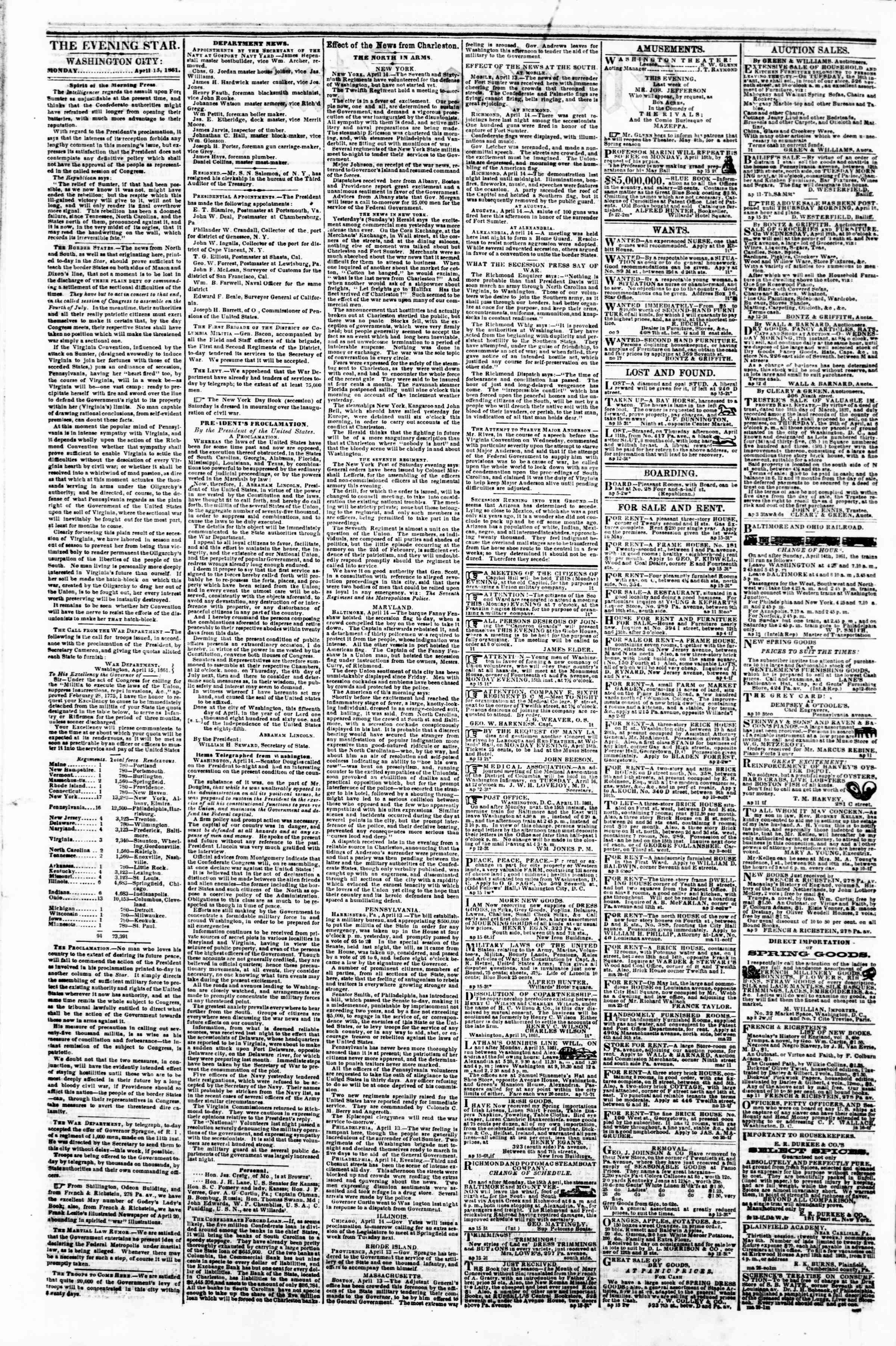 Newspaper of Evening Star dated April 15, 1861 Page 2