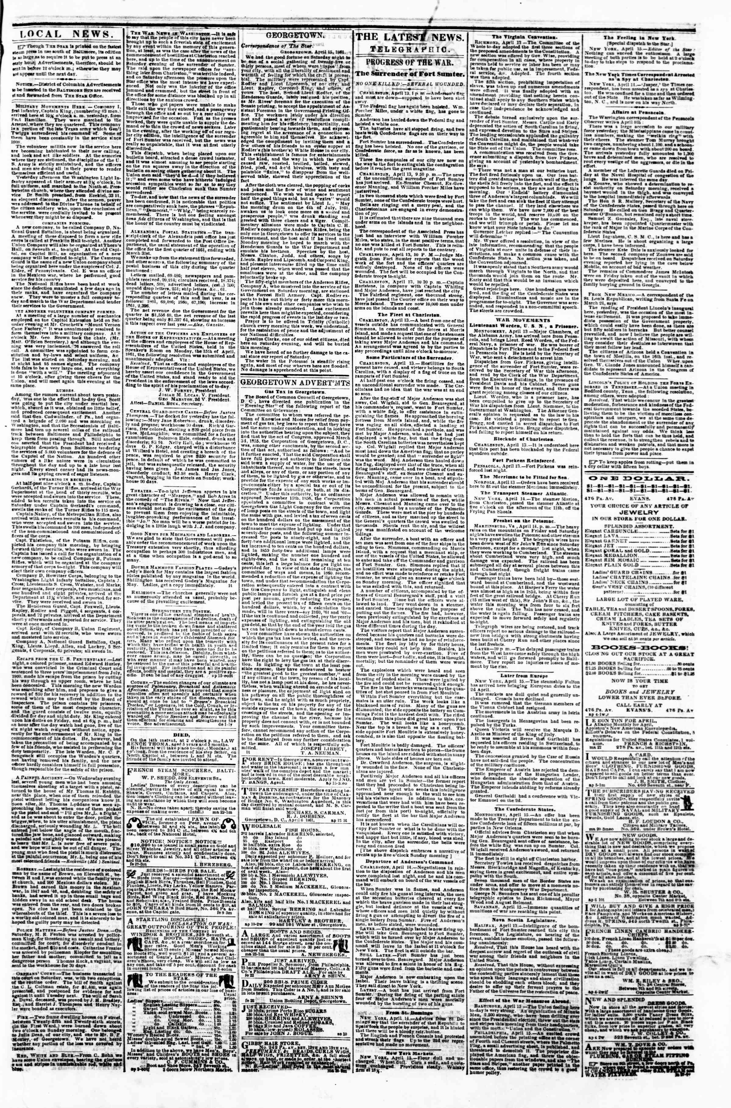 Newspaper of Evening Star dated April 15, 1861 Page 3