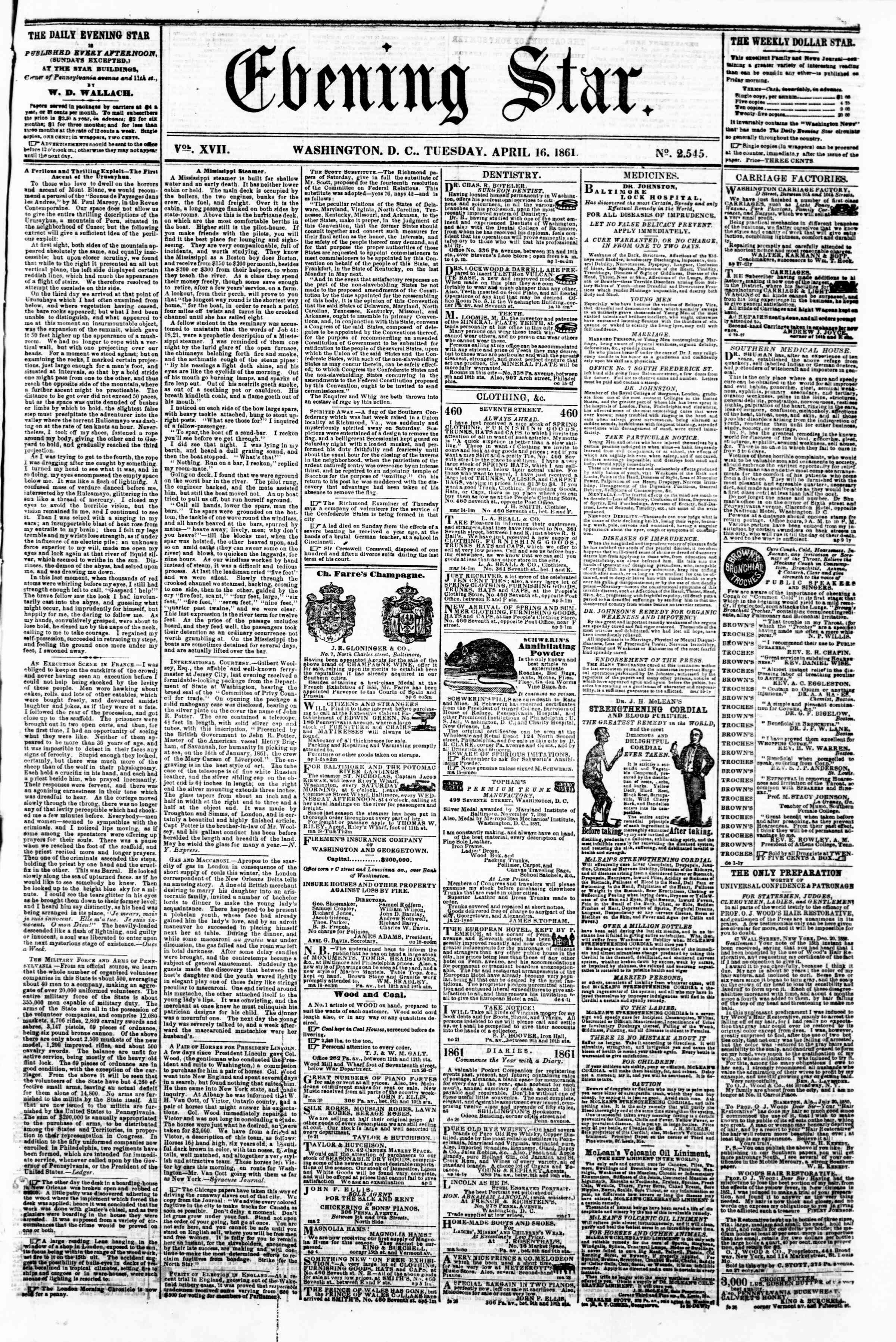 Newspaper of Evening Star dated April 16, 1861 Page 1