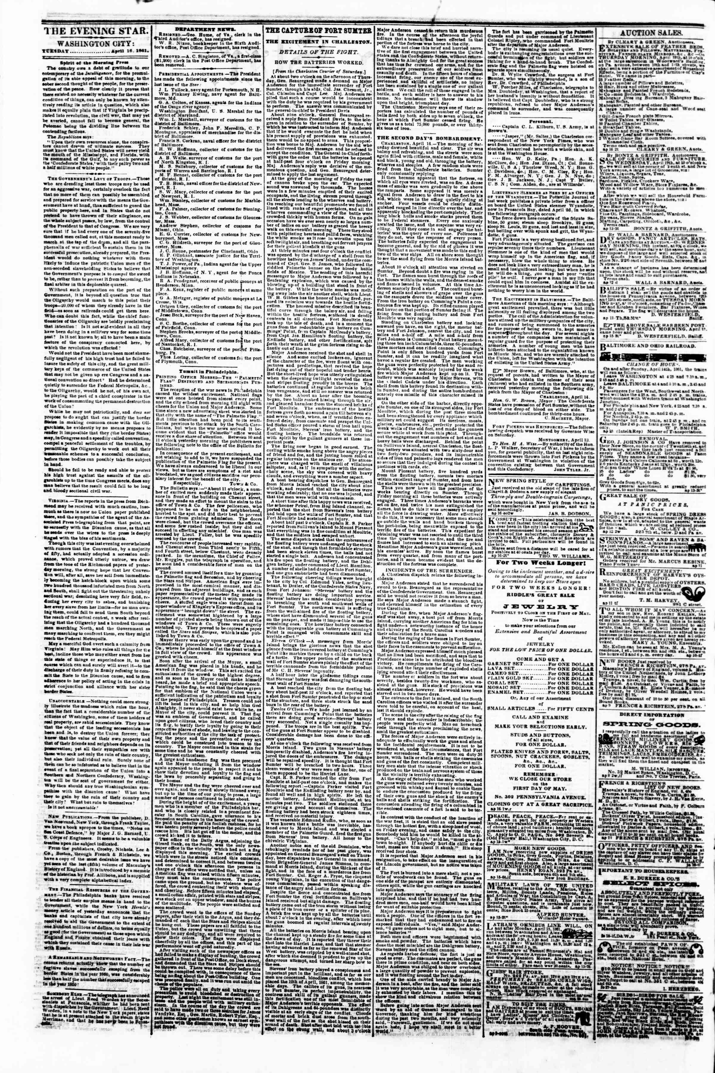 Newspaper of Evening Star dated April 16, 1861 Page 2