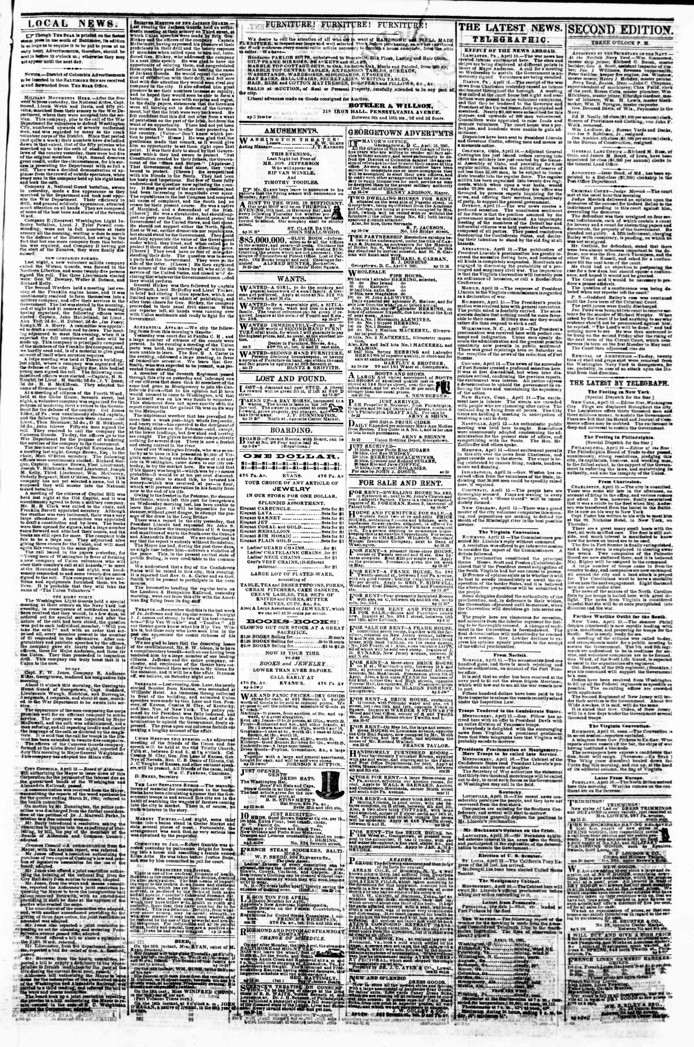 Newspaper of Evening Star dated April 16, 1861 Page 3