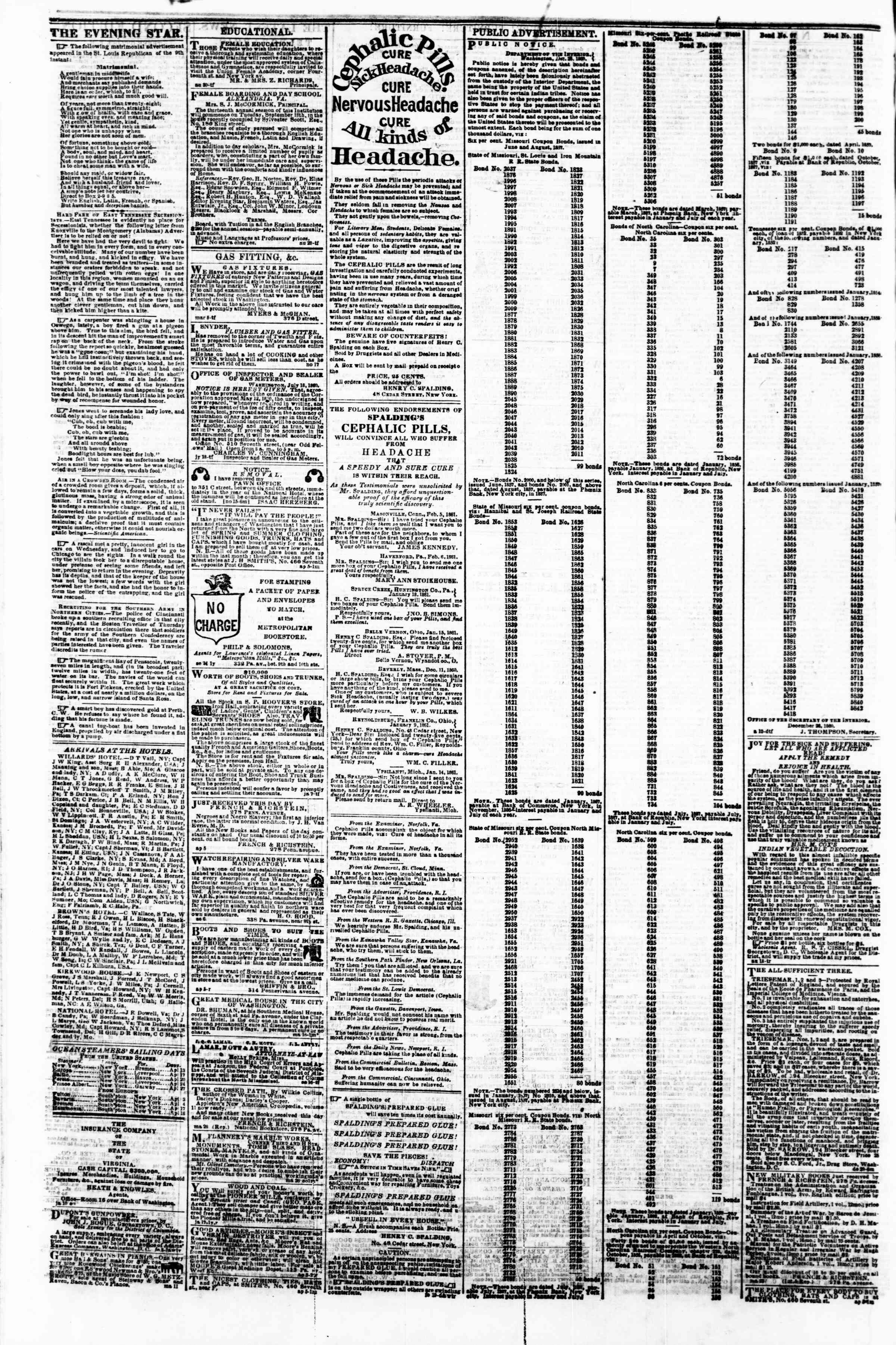 Newspaper of Evening Star dated April 16, 1861 Page 4