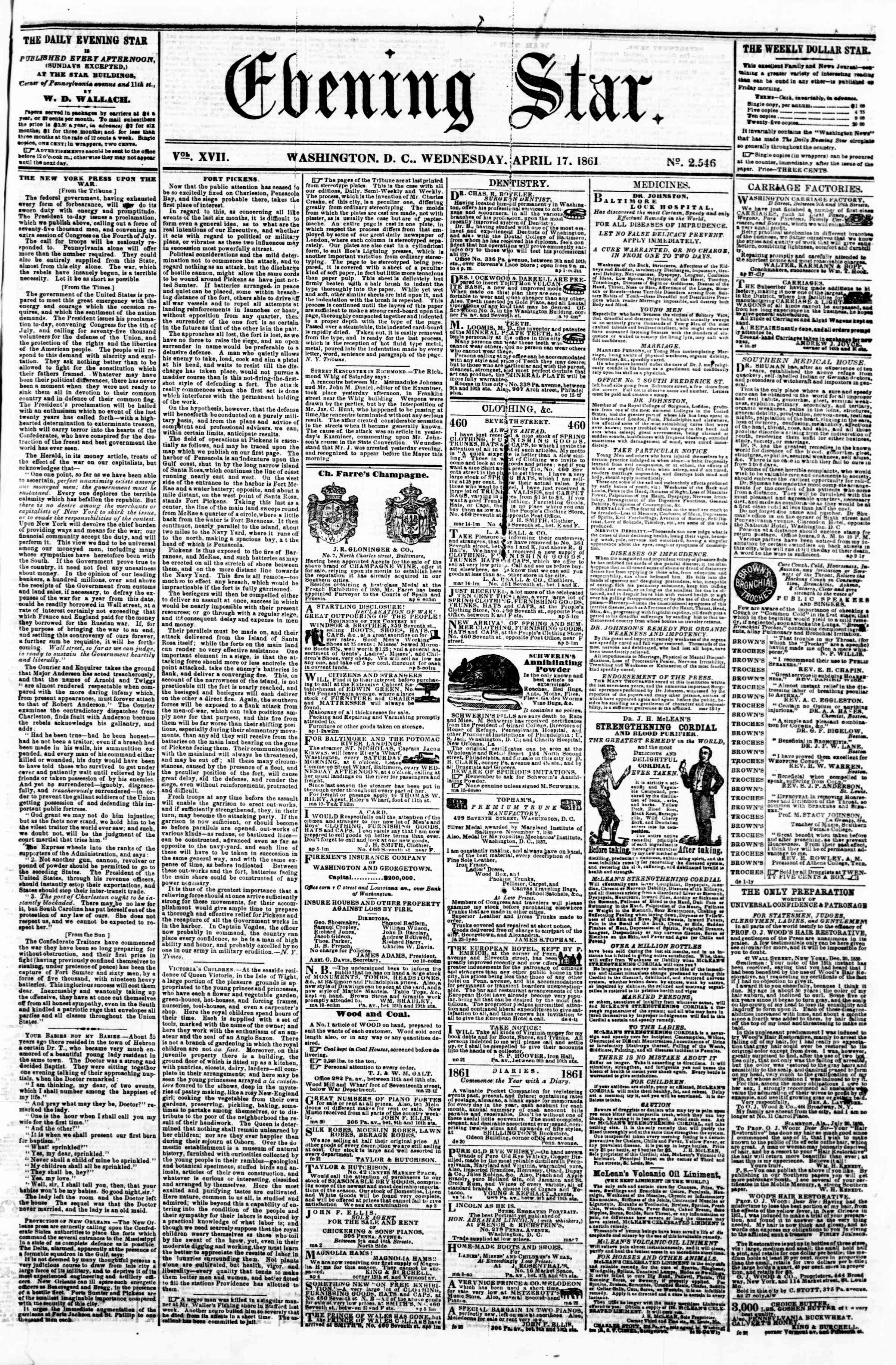 Newspaper of Evening Star dated April 17, 1861 Page 1