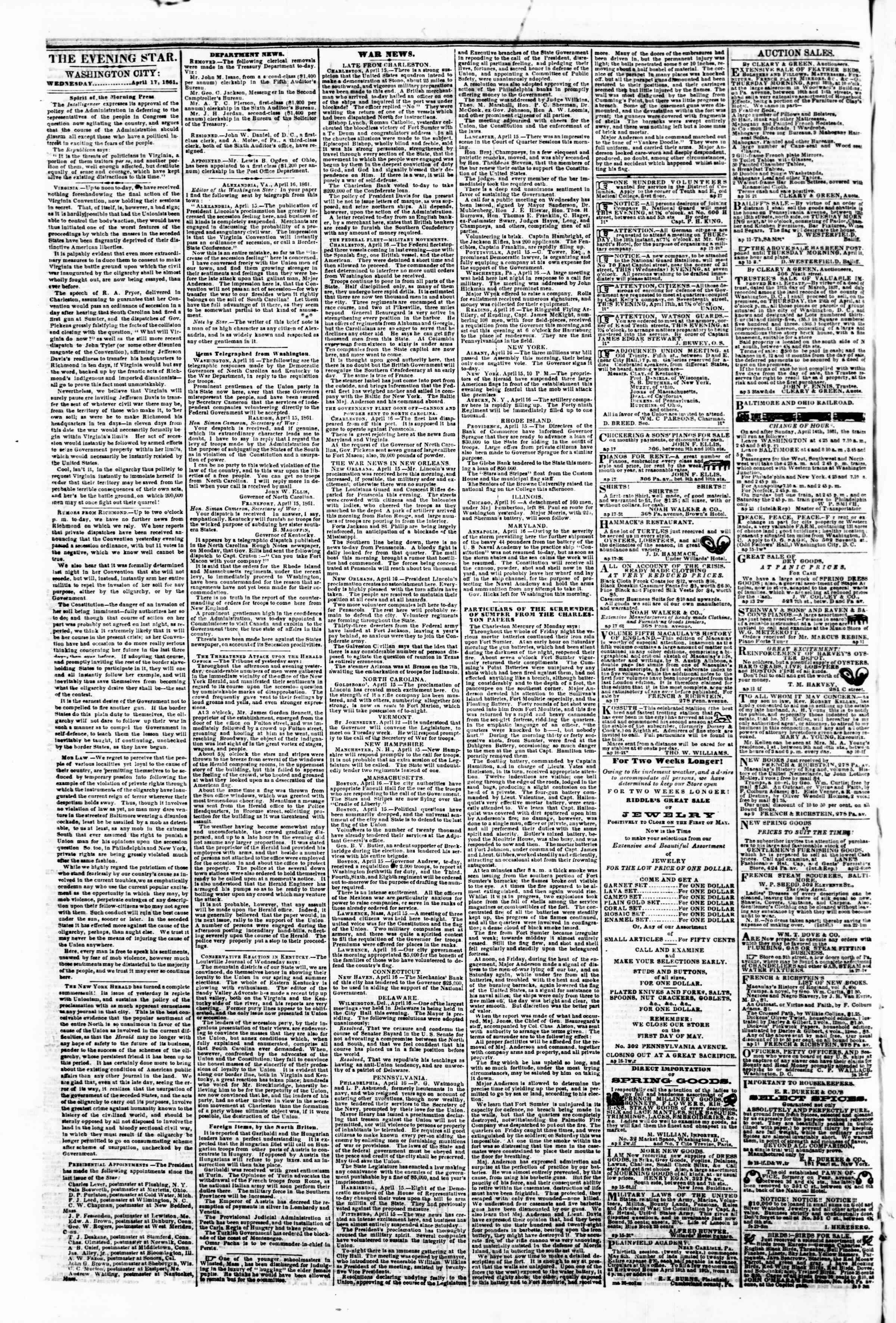 Newspaper of Evening Star dated April 17, 1861 Page 2
