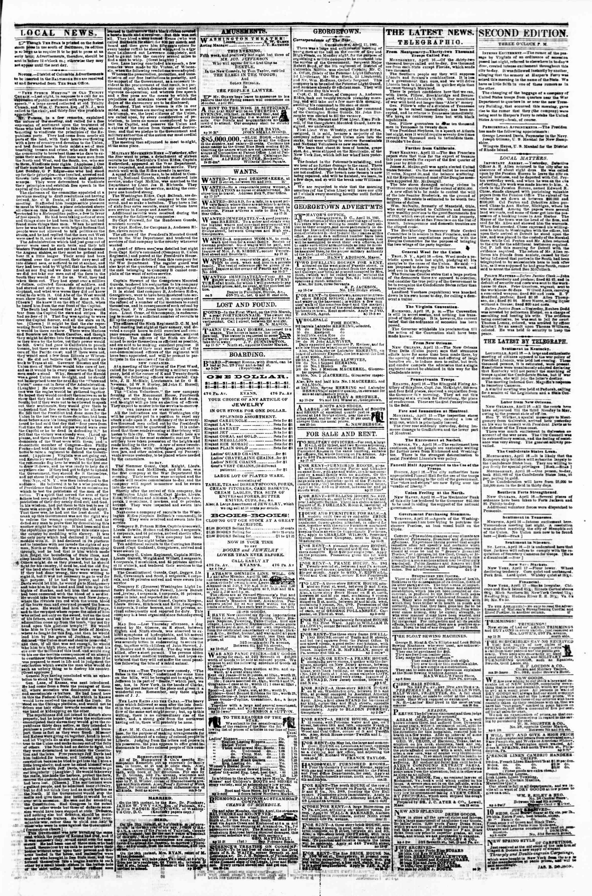 Newspaper of Evening Star dated April 17, 1861 Page 3