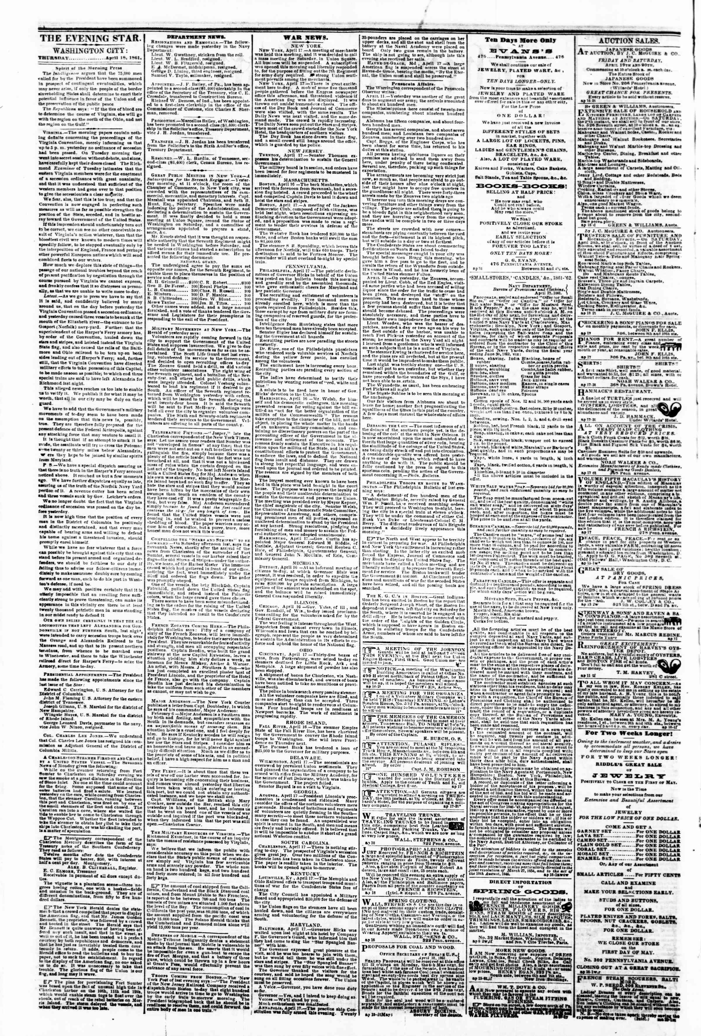Newspaper of Evening Star dated April 18, 1861 Page 2