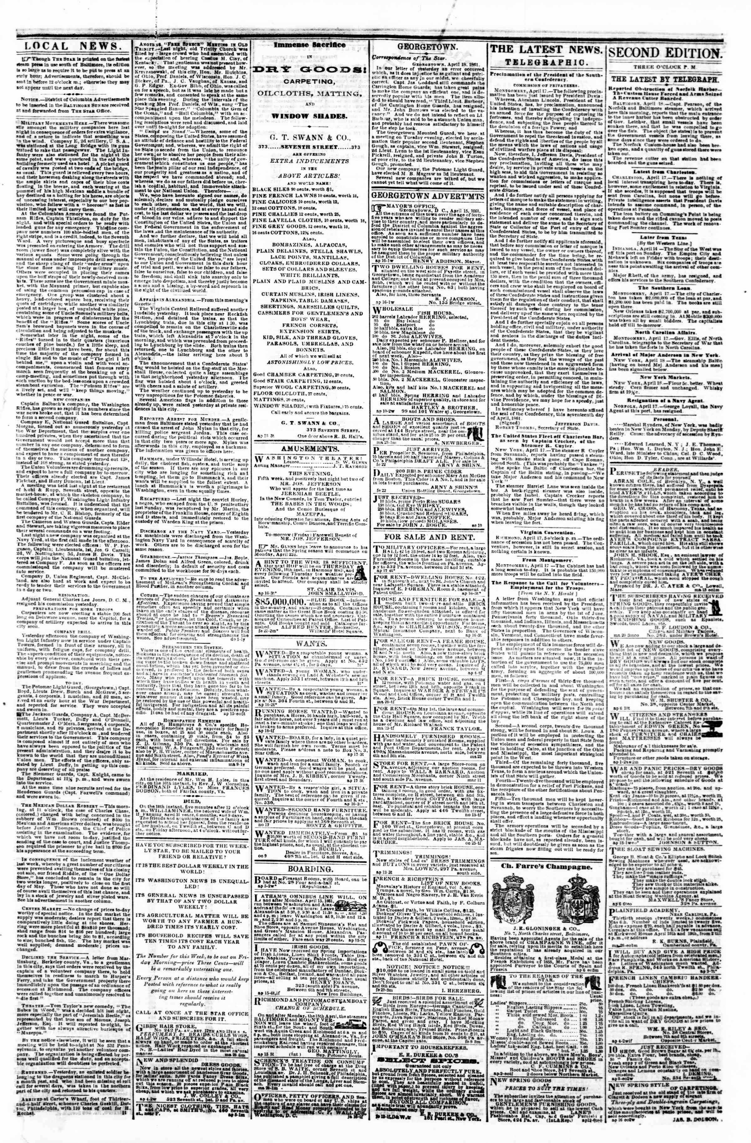 Newspaper of Evening Star dated April 18, 1861 Page 3
