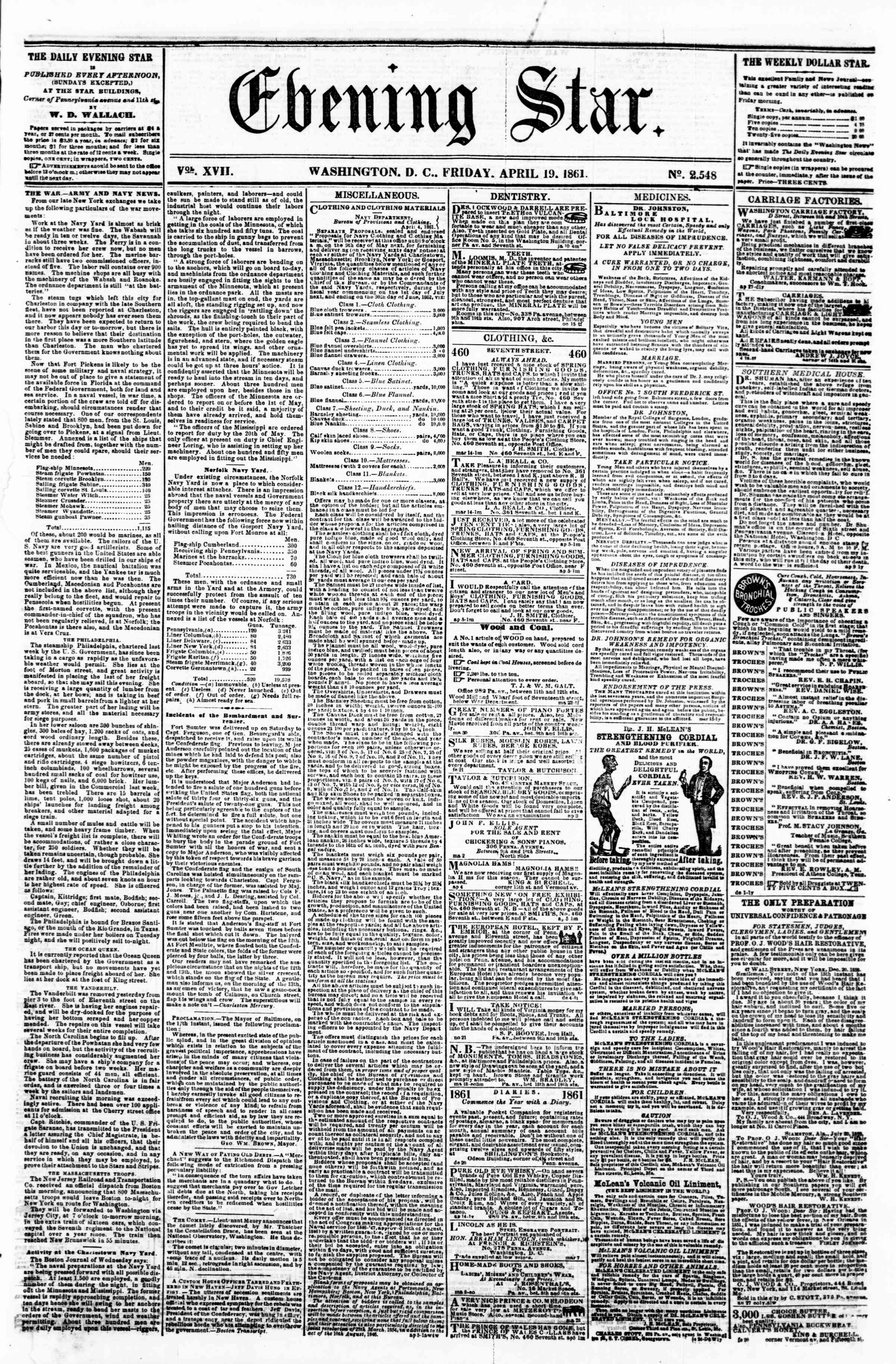 Newspaper of Evening Star dated April 19, 1861 Page 1