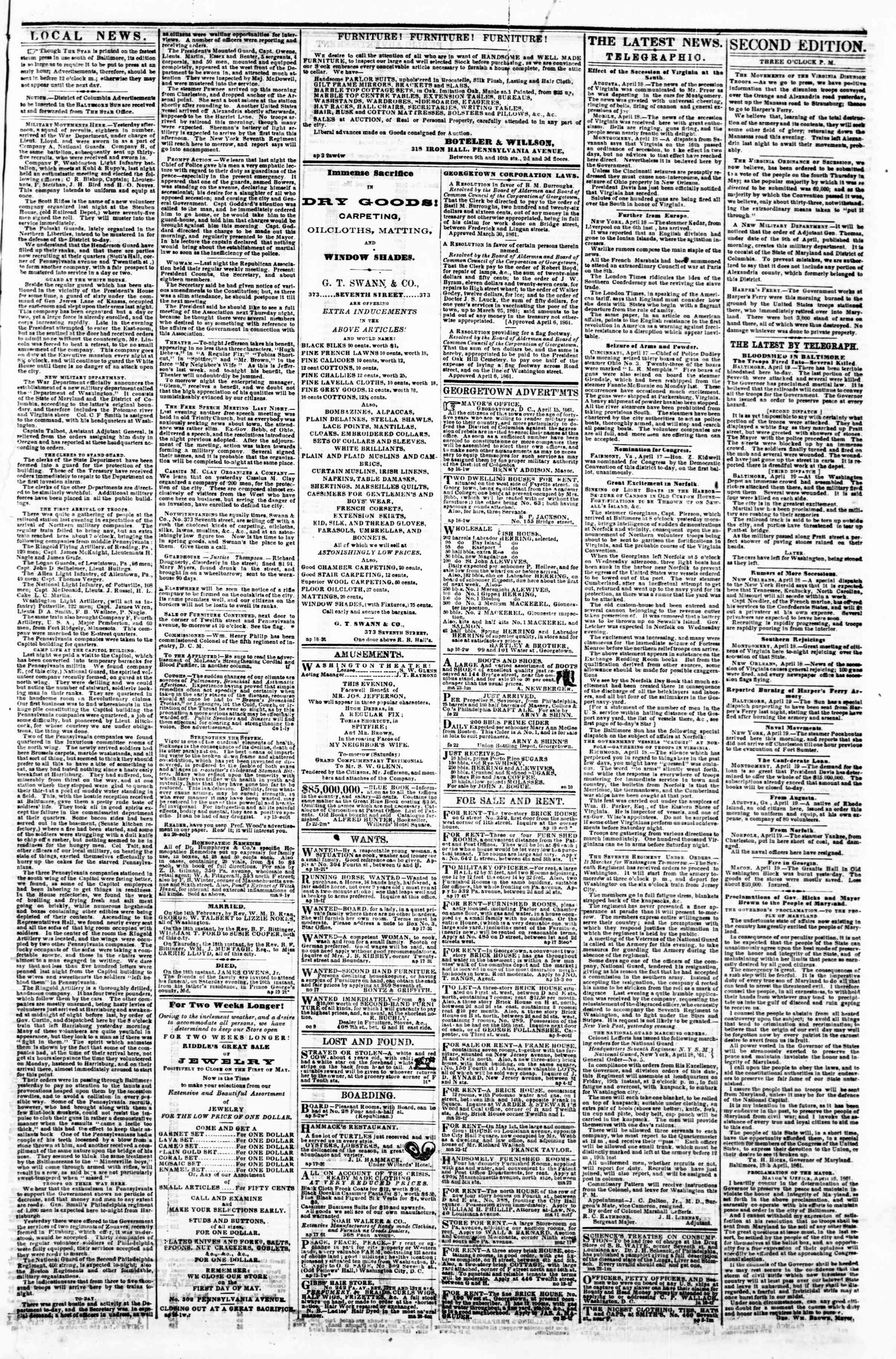 Newspaper of Evening Star dated April 19, 1861 Page 3