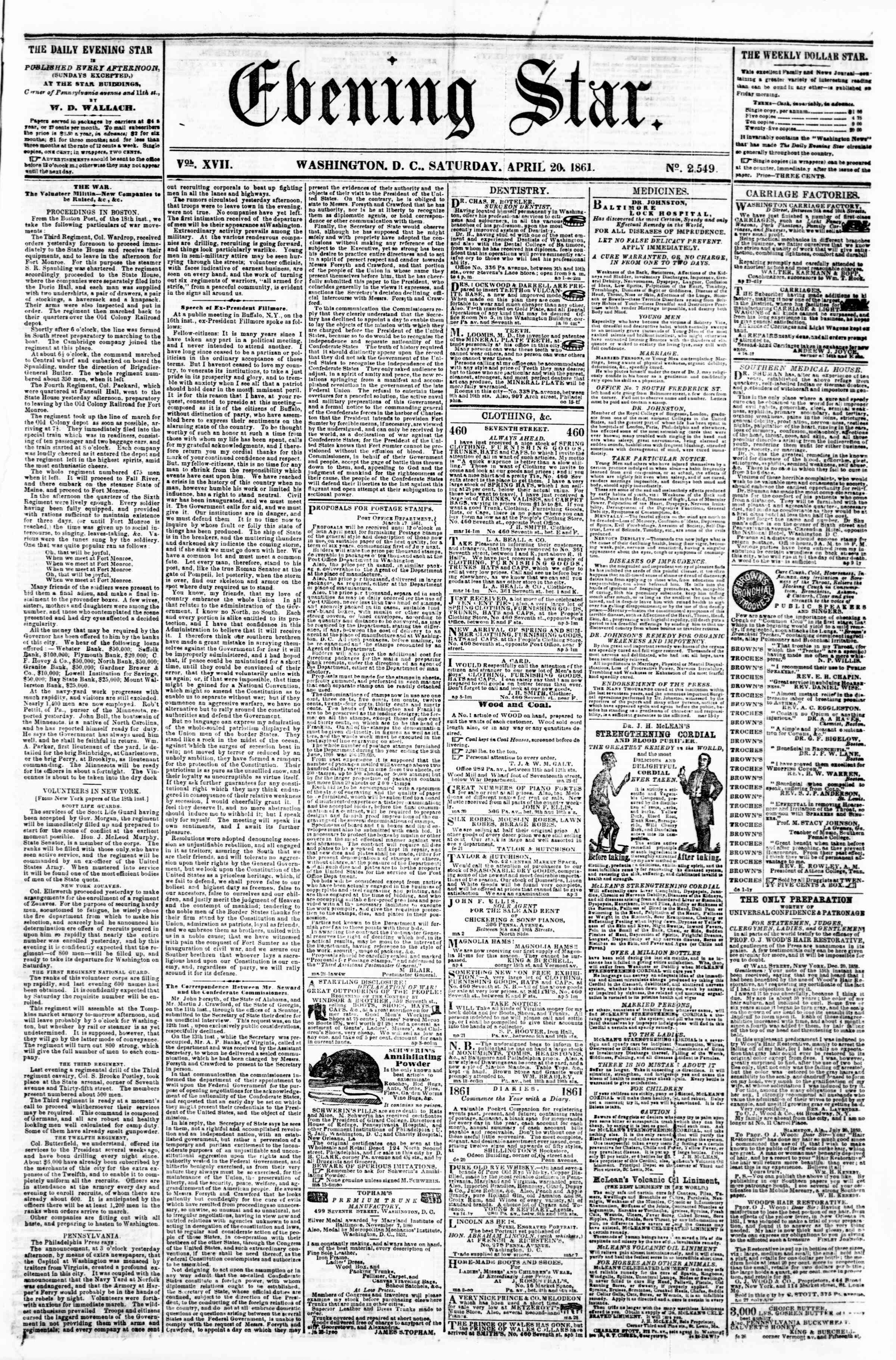 Newspaper of Evening Star dated April 20, 1861 Page 1
