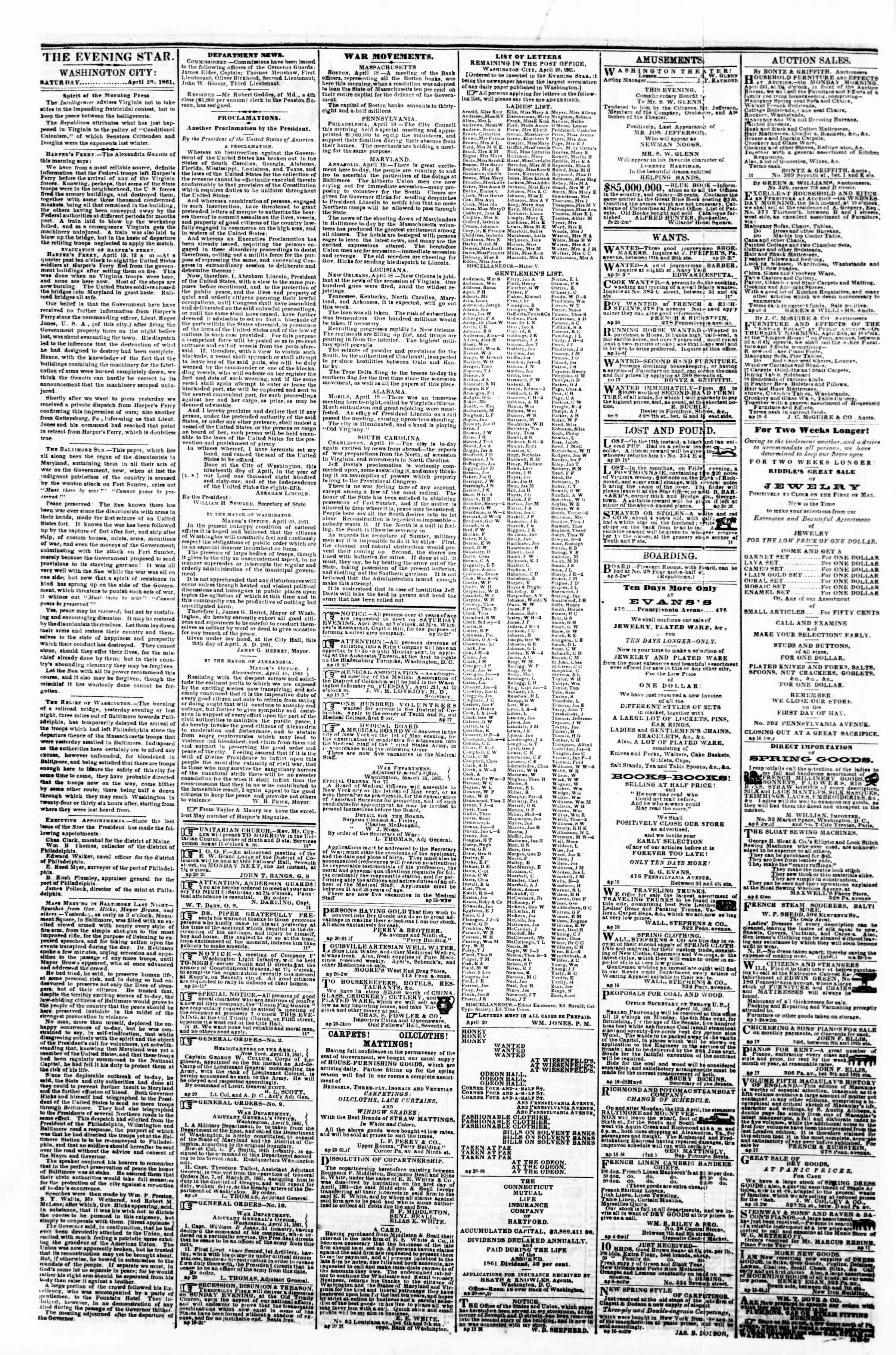 Newspaper of Evening Star dated April 20, 1861 Page 2