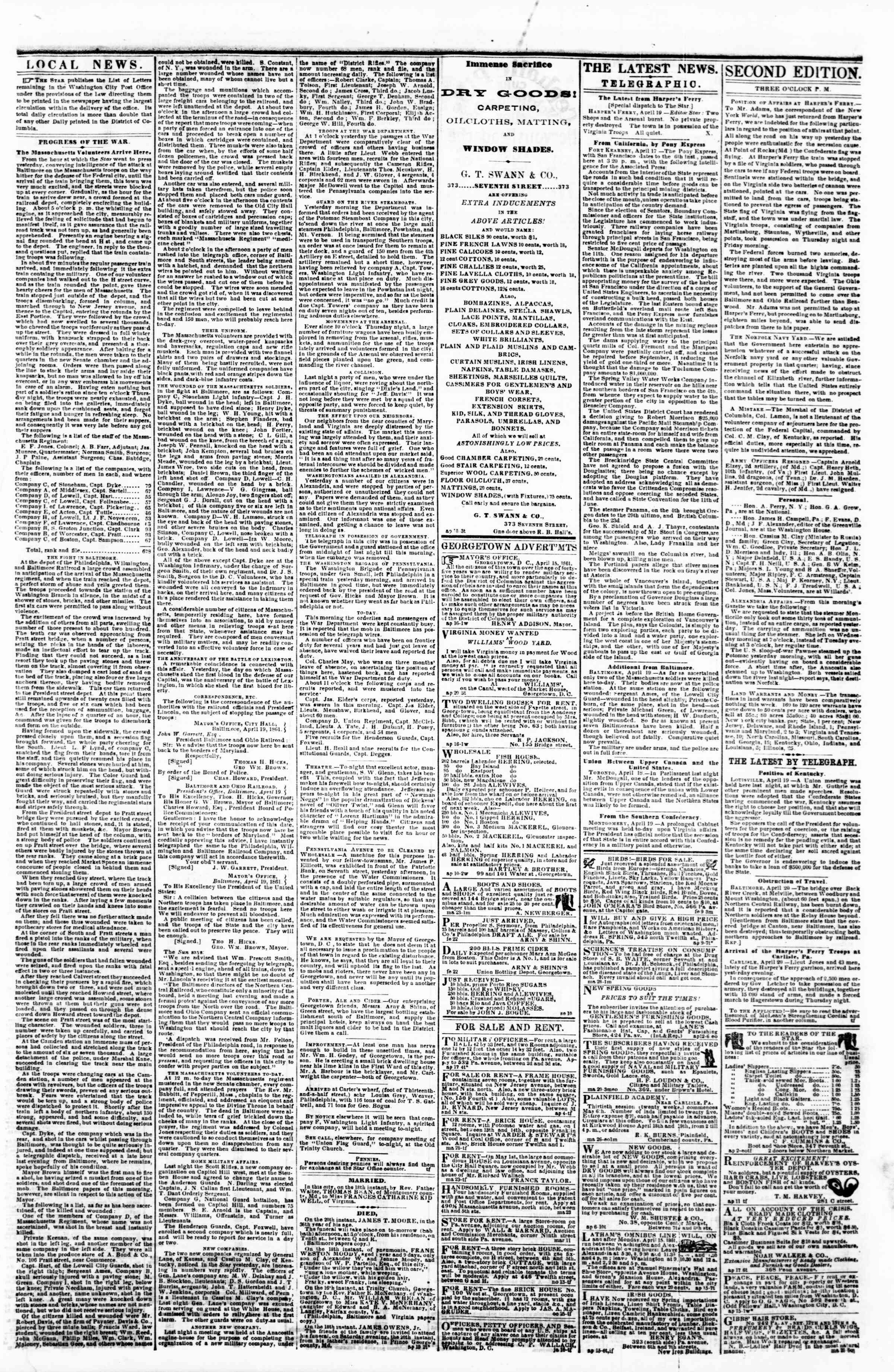 Newspaper of Evening Star dated April 20, 1861 Page 3