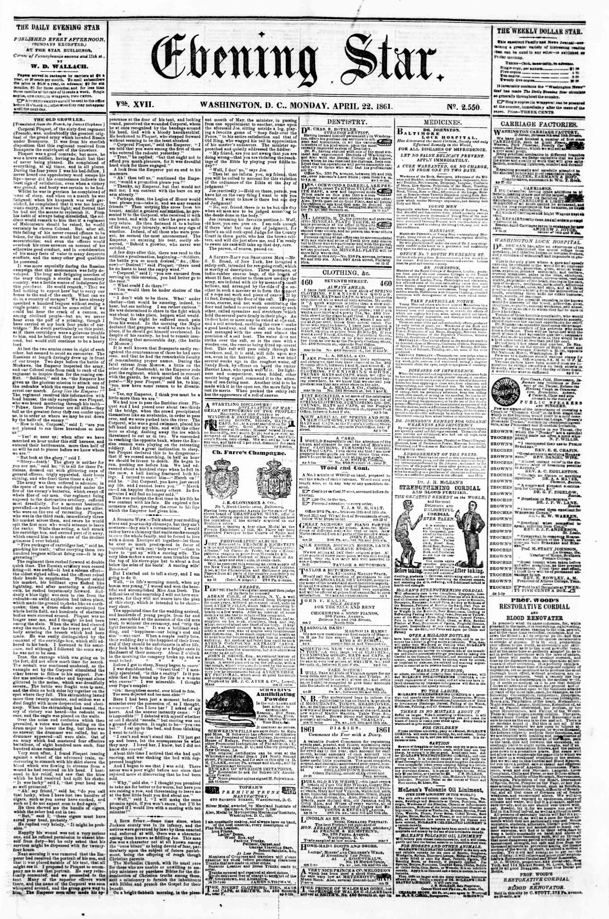 22 Nisan 1861 tarihli Evening Star Gazetesi Sayfa 1