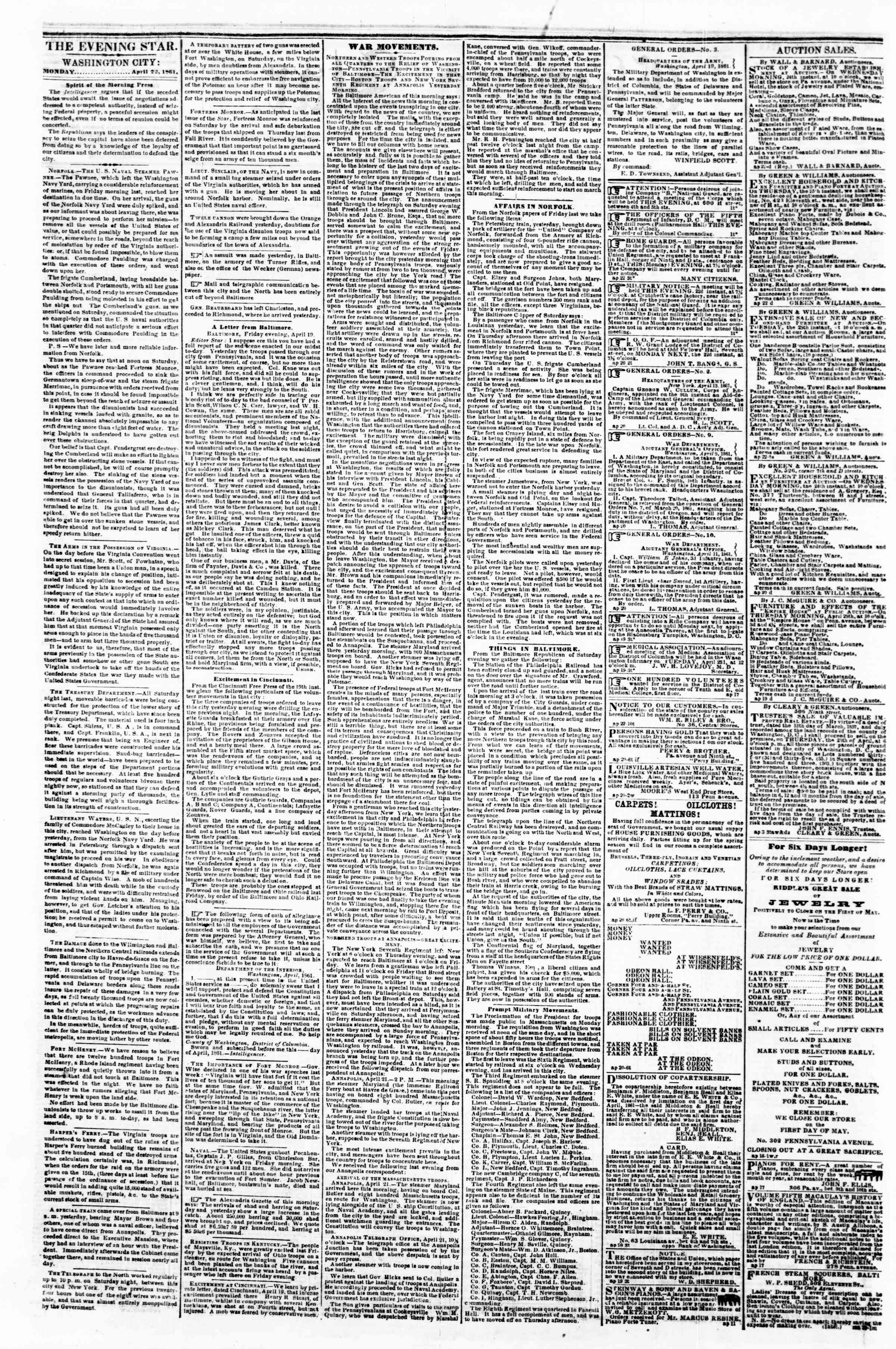 Newspaper of Evening Star dated April 22, 1861 Page 2
