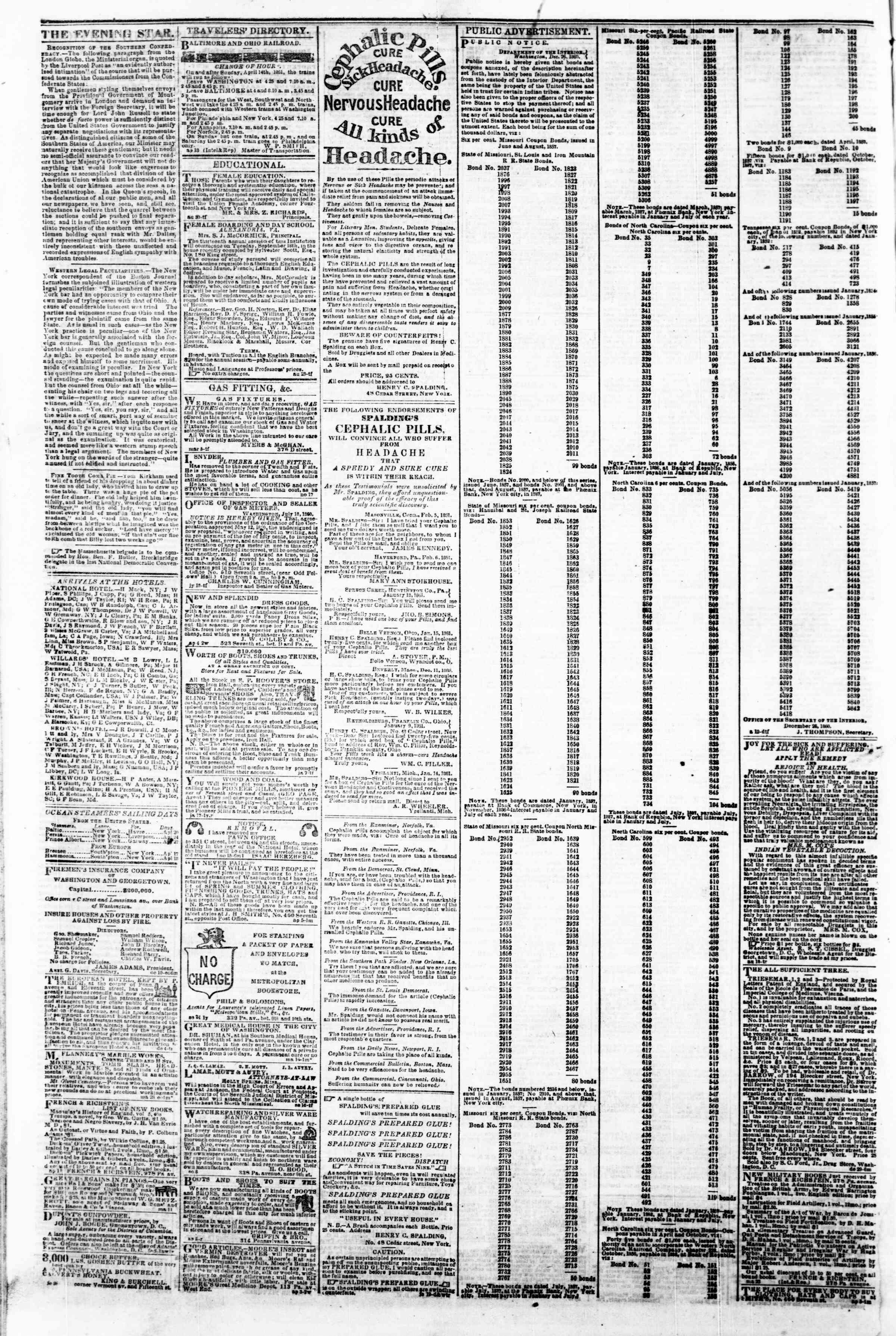 Newspaper of Evening Star dated April 22, 1861 Page 4