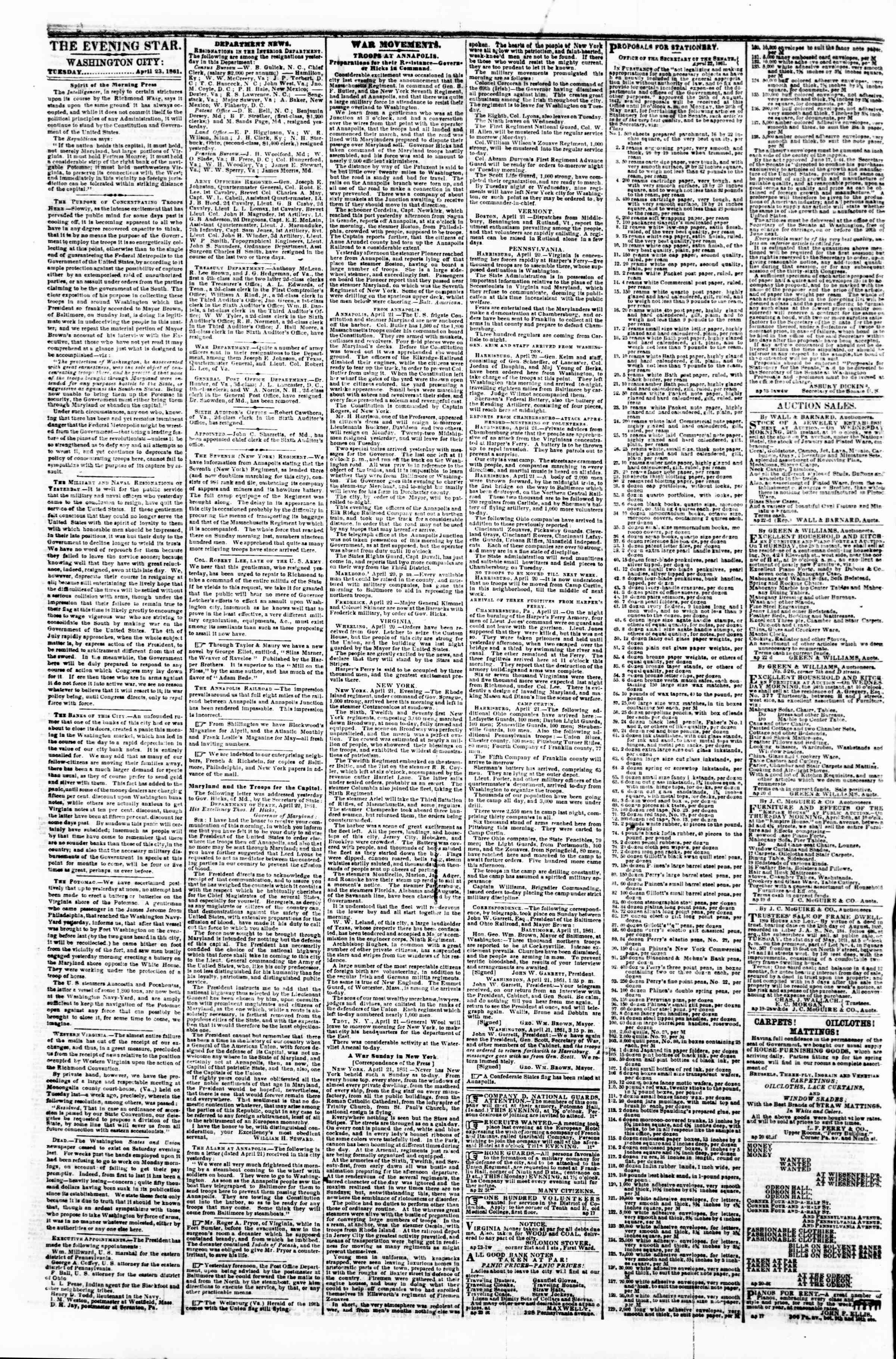 Newspaper of Evening Star dated April 23, 1861 Page 2