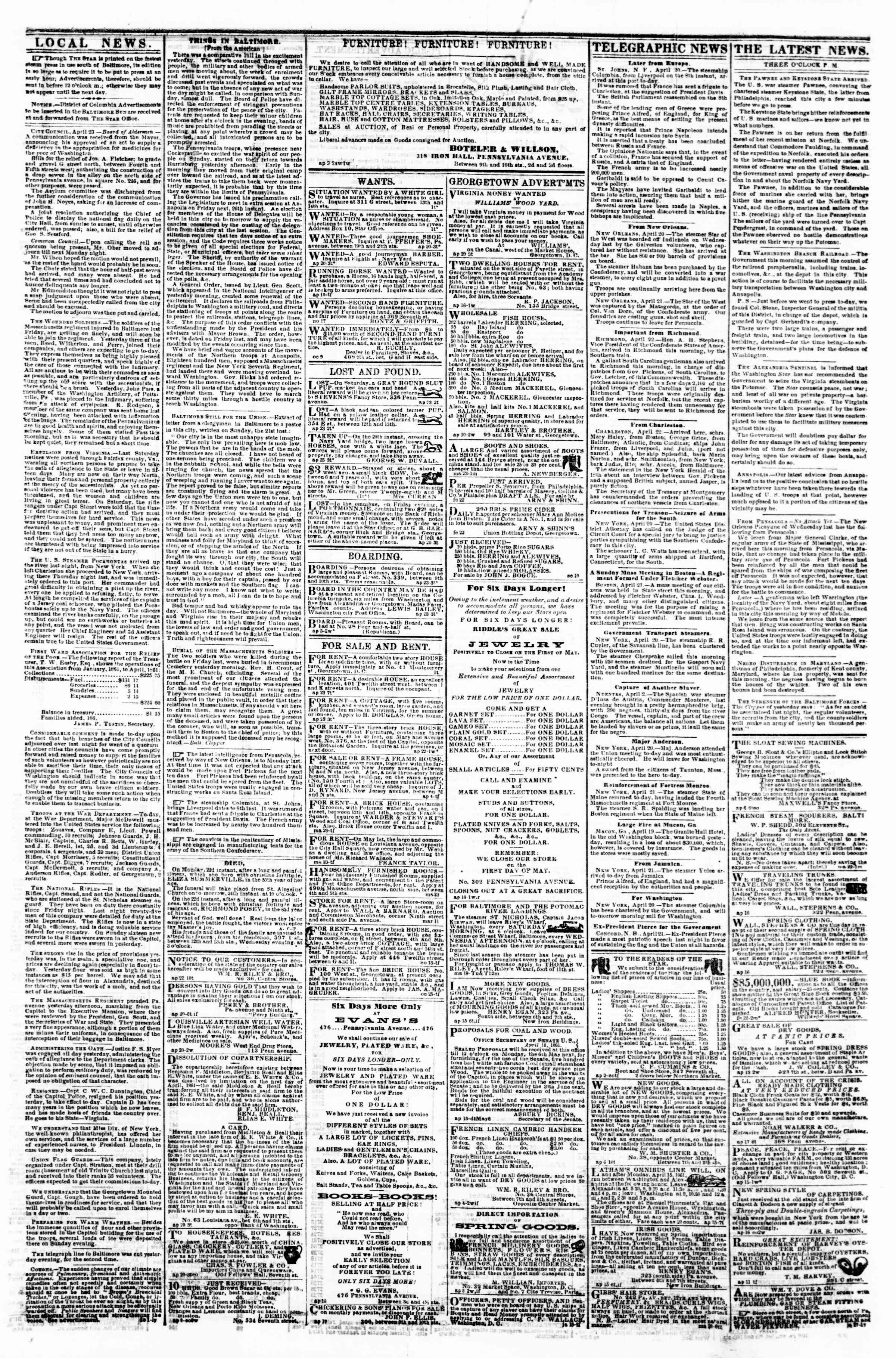 Newspaper of Evening Star dated April 23, 1861 Page 3