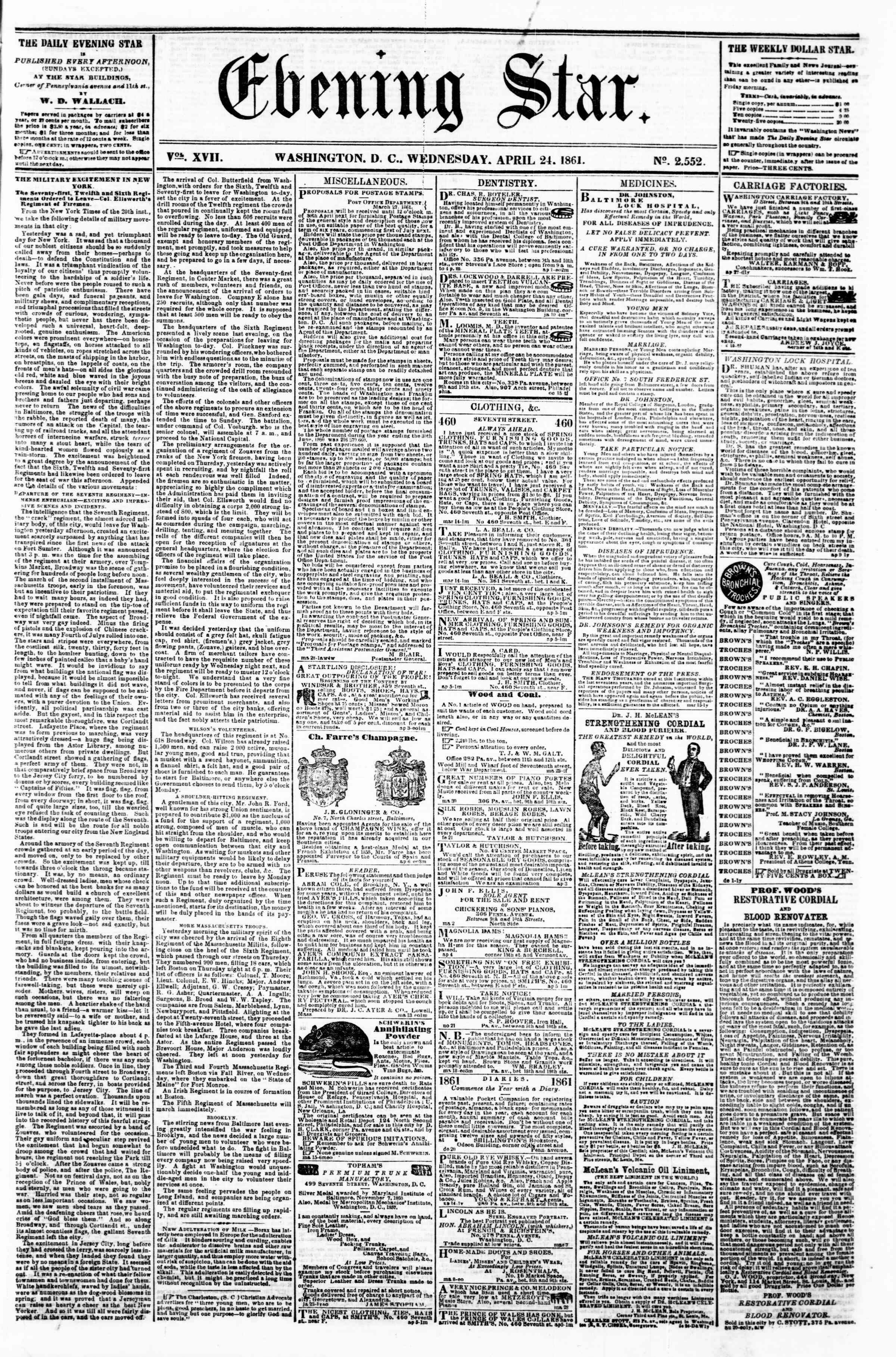 Newspaper of Evening Star dated 24 Nisan 1861 Page 1