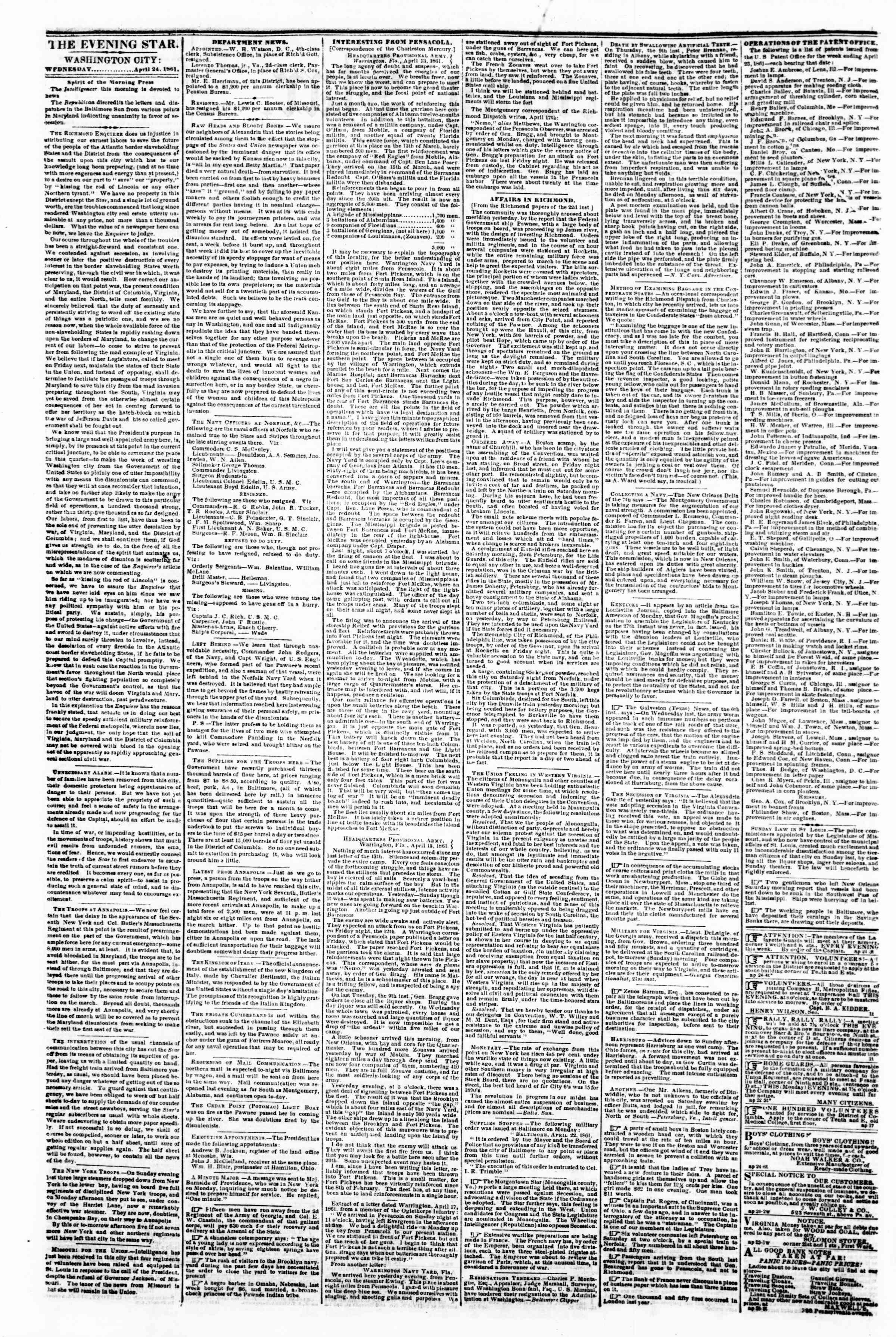 Newspaper of Evening Star dated April 24, 1861 Page 2