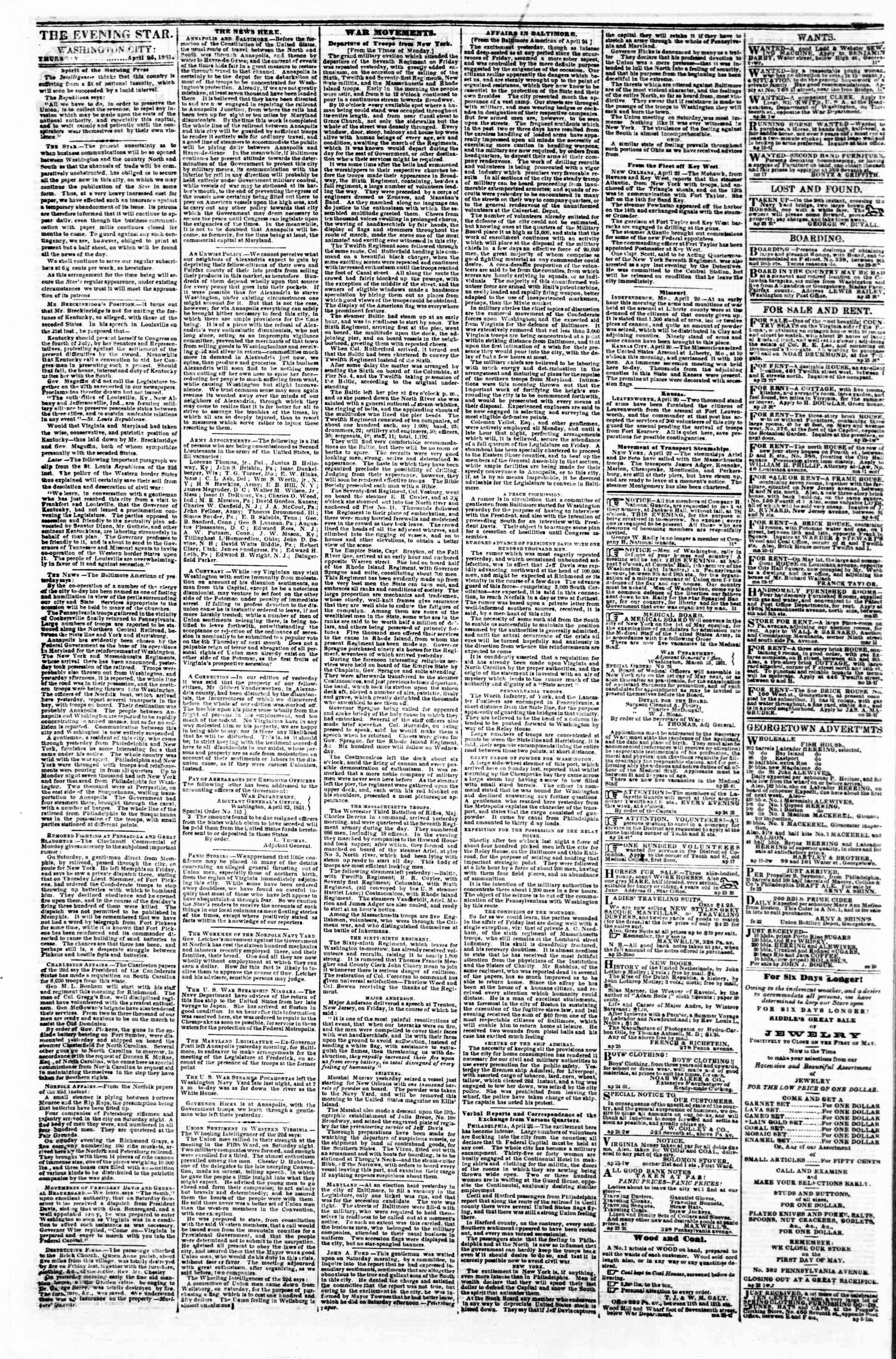 Newspaper of Evening Star dated April 25, 1861 Page 1
