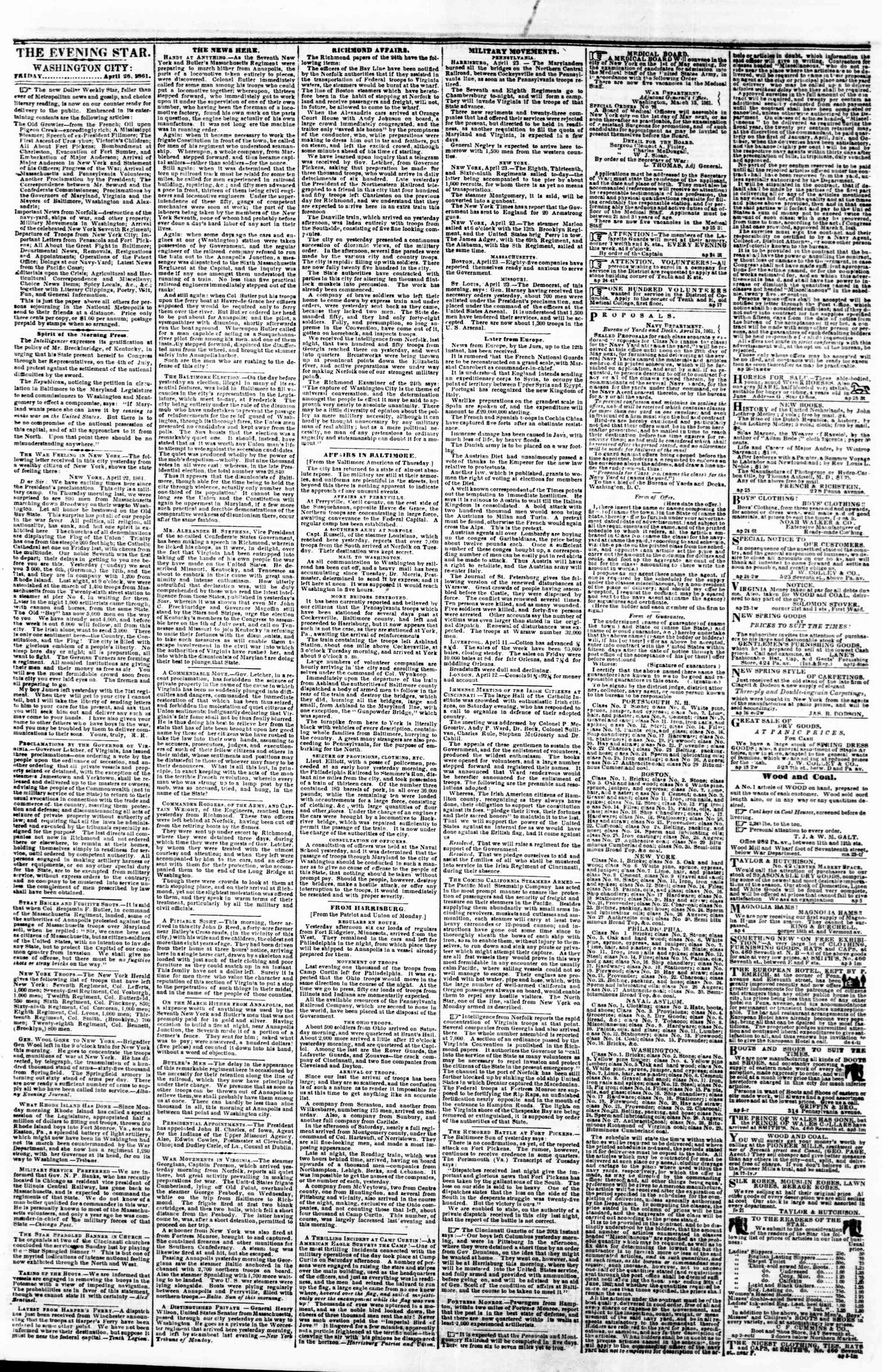 Newspaper of Evening Star dated April 26, 1861 Page 1
