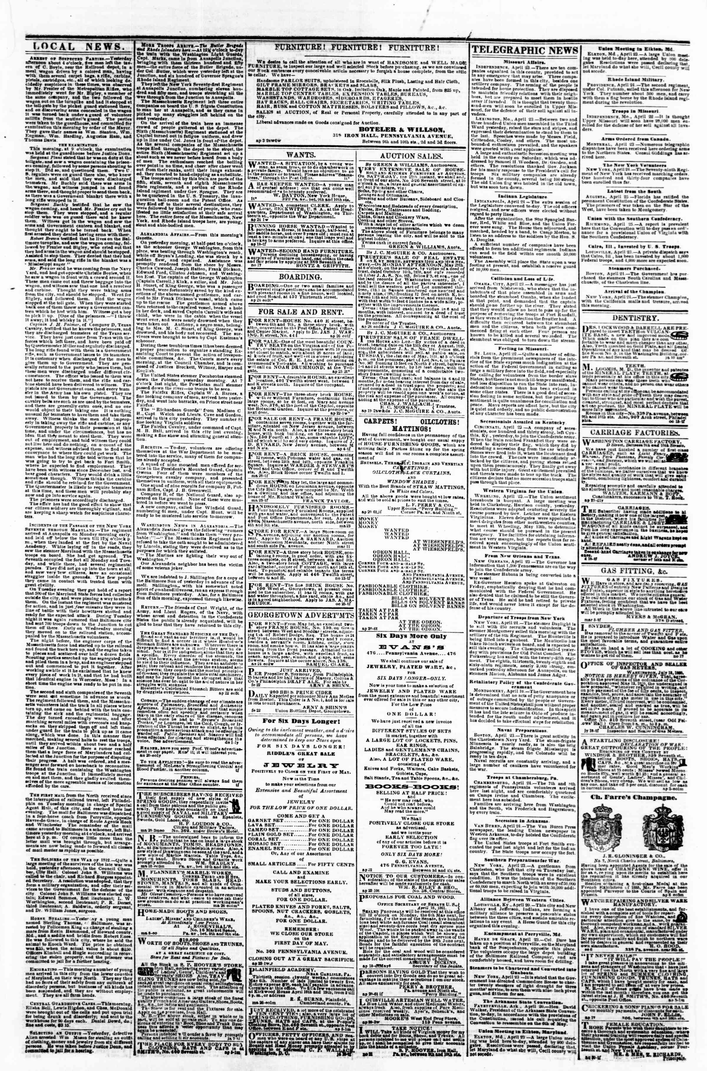 Newspaper of Evening Star dated April 26, 1861 Page 2