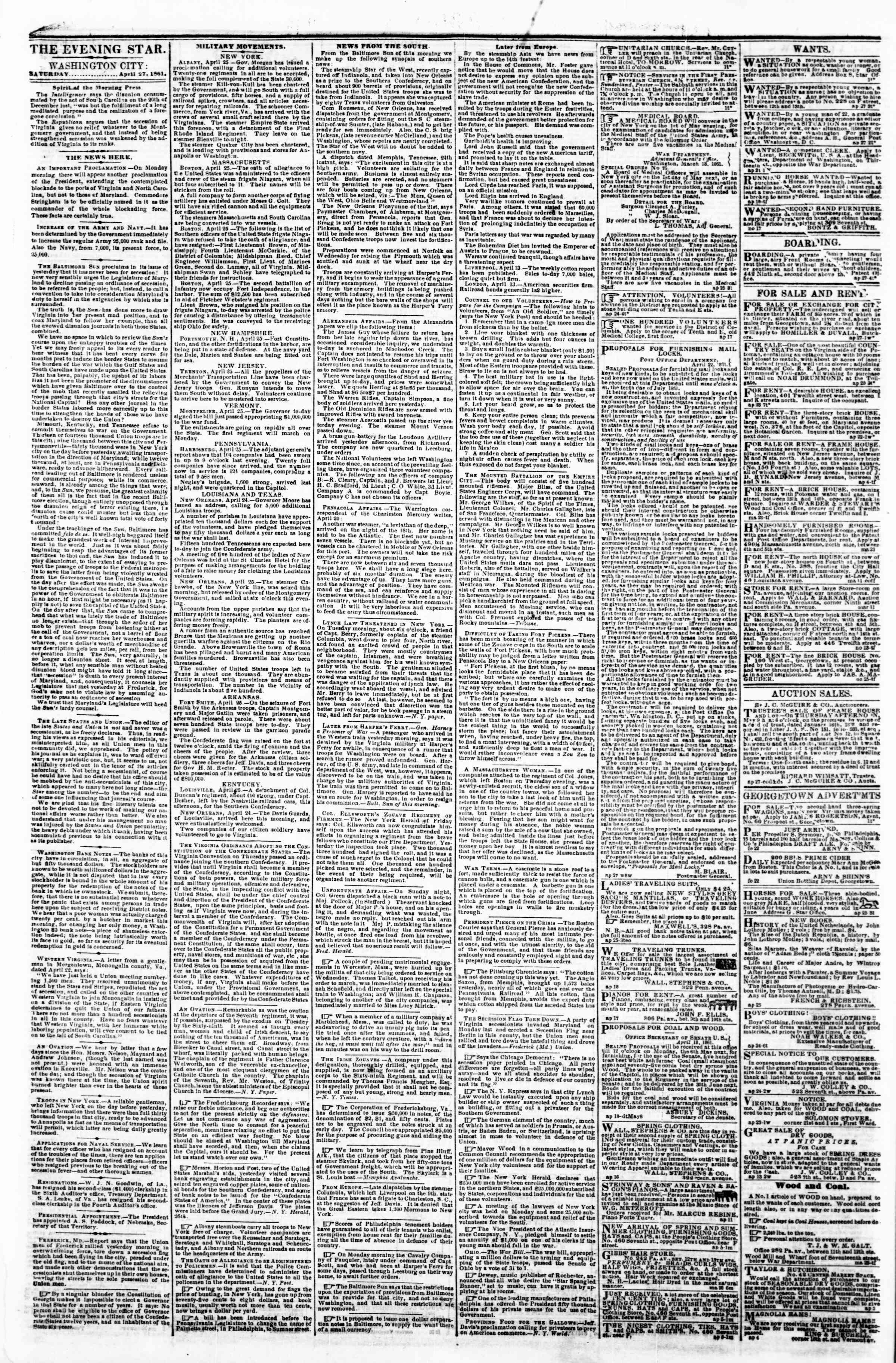 Newspaper of Evening Star dated April 27, 1861 Page 1