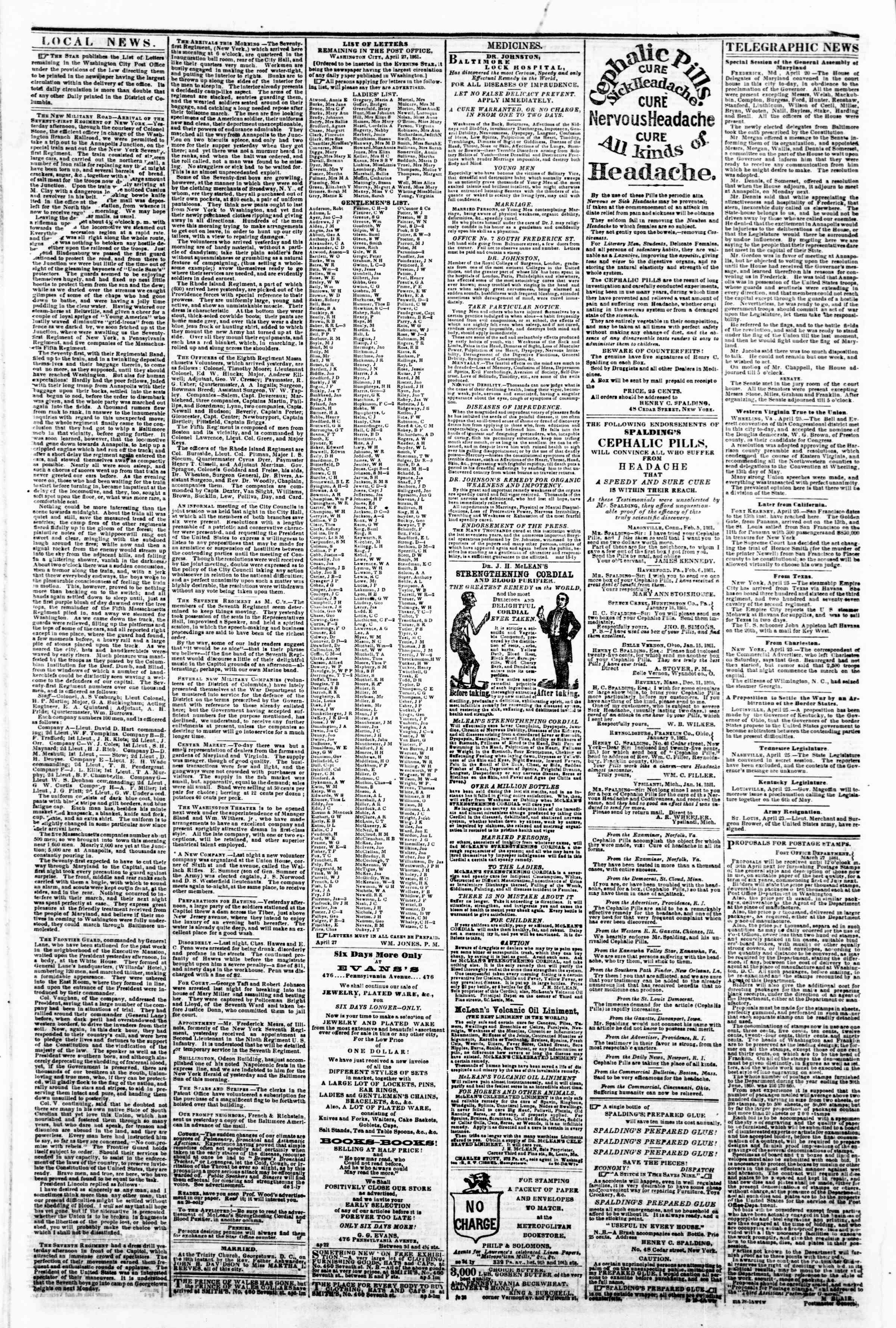 Newspaper of Evening Star dated April 27, 1861 Page 2
